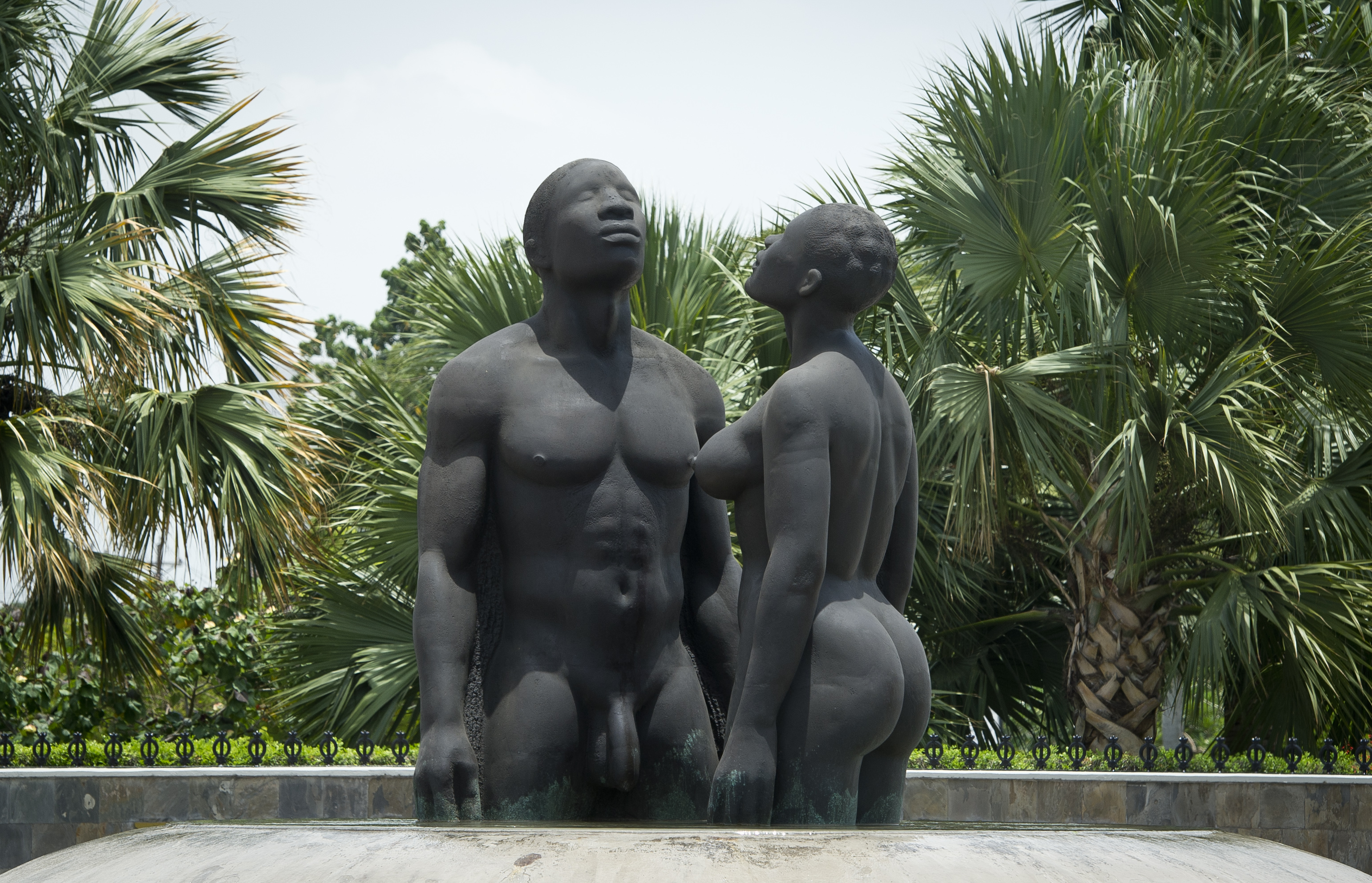 The bronze sculpture  Redemption Song , depicting a man and woman emerging from a pool of water, meant to wash away the pain of slavery is seen in Kingston on June 29, 2012.  MLADEN ANTONOV/AFP/Getty Images)