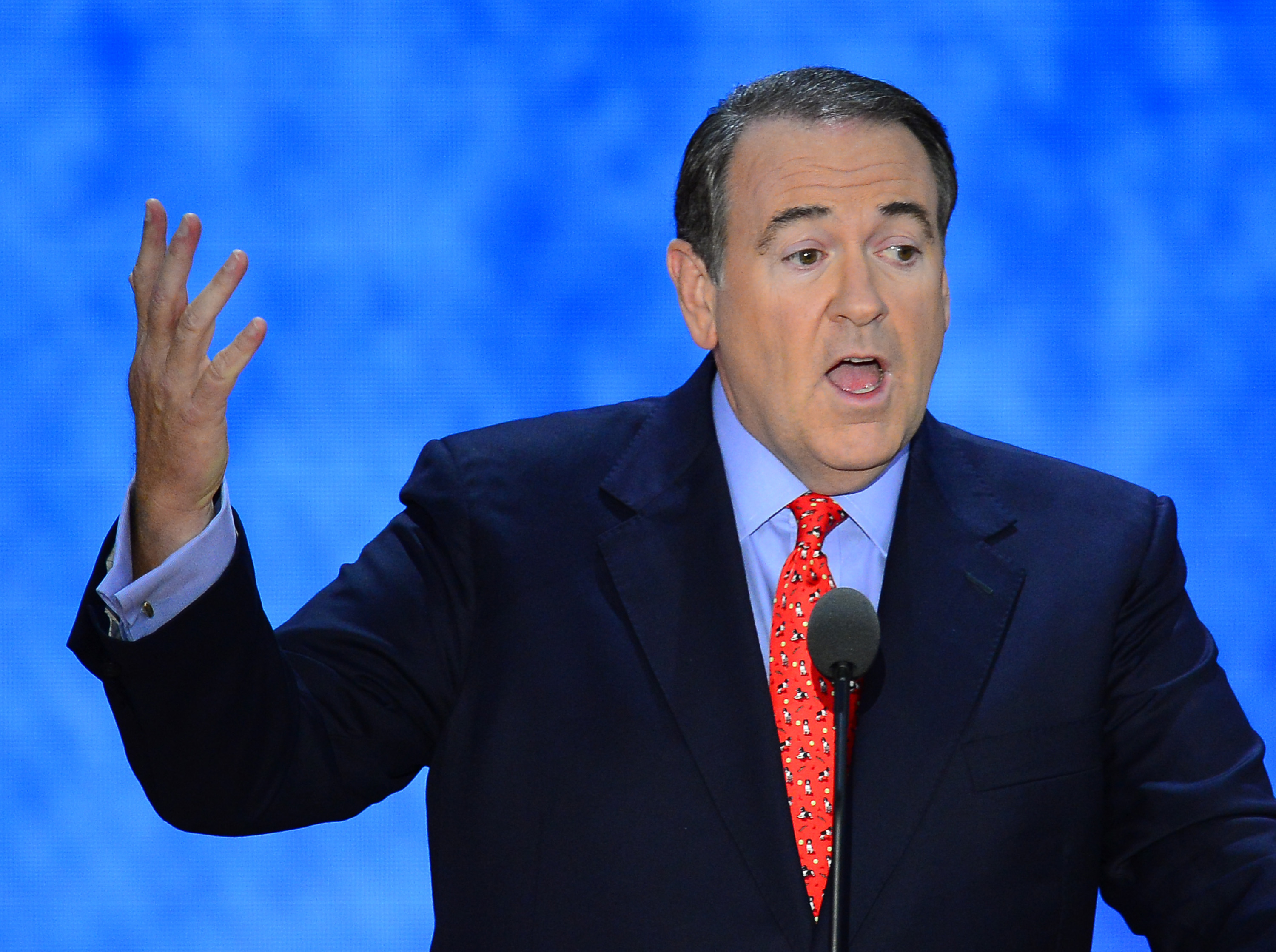 Mike Huckabee, former governor of Arkansas, speaks at the Republican National Convention in Tampa, Florida