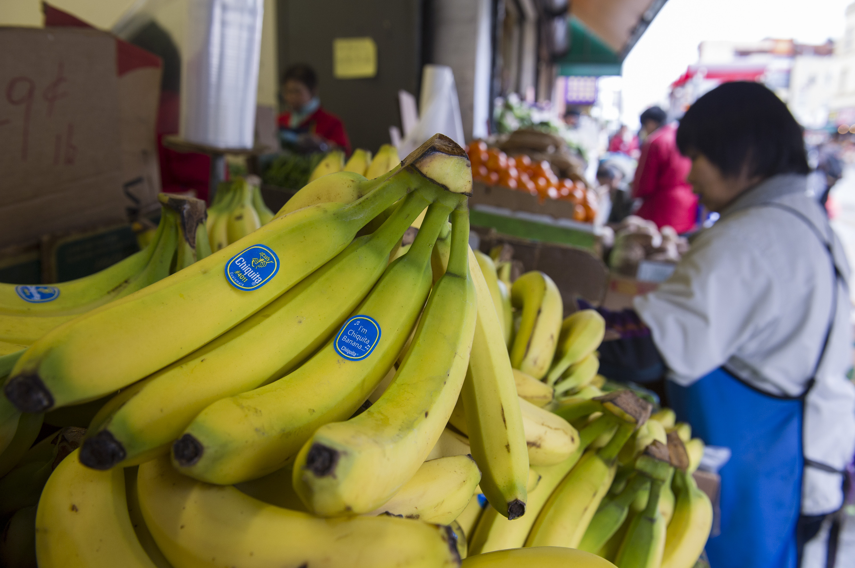 Chiquita Brands International Inc. bananas are displayed at a store in Chinatown in San Francisco, California, U.S., on Tuesday, Feb. 19, 2013.