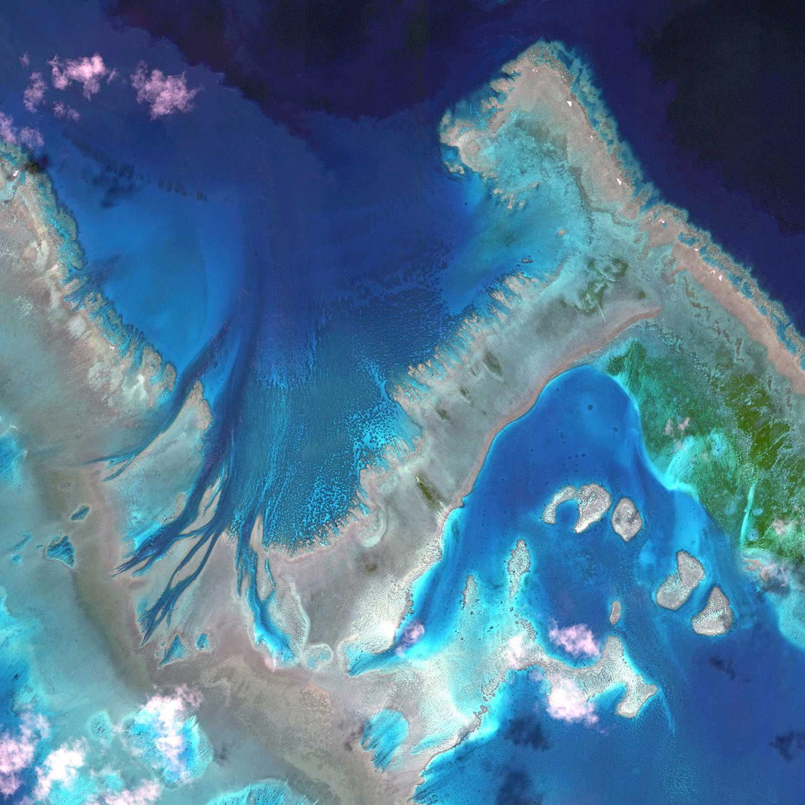 This is a satellite image of the Great Barrier Reef, Australia colllected on April 22, 2013.