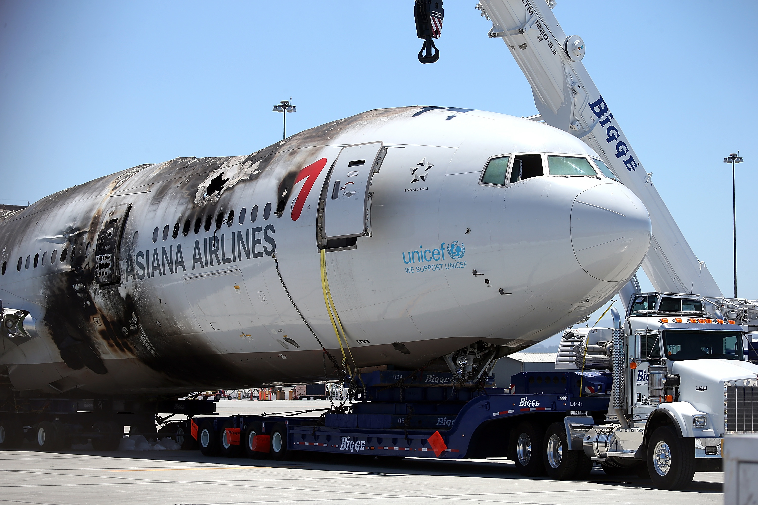 The wrecked fuselage of Asiana Airlines flght 214 sits in a storage area at San Francisco International Airport on July 12, 2013 in San Francisco, Ca.