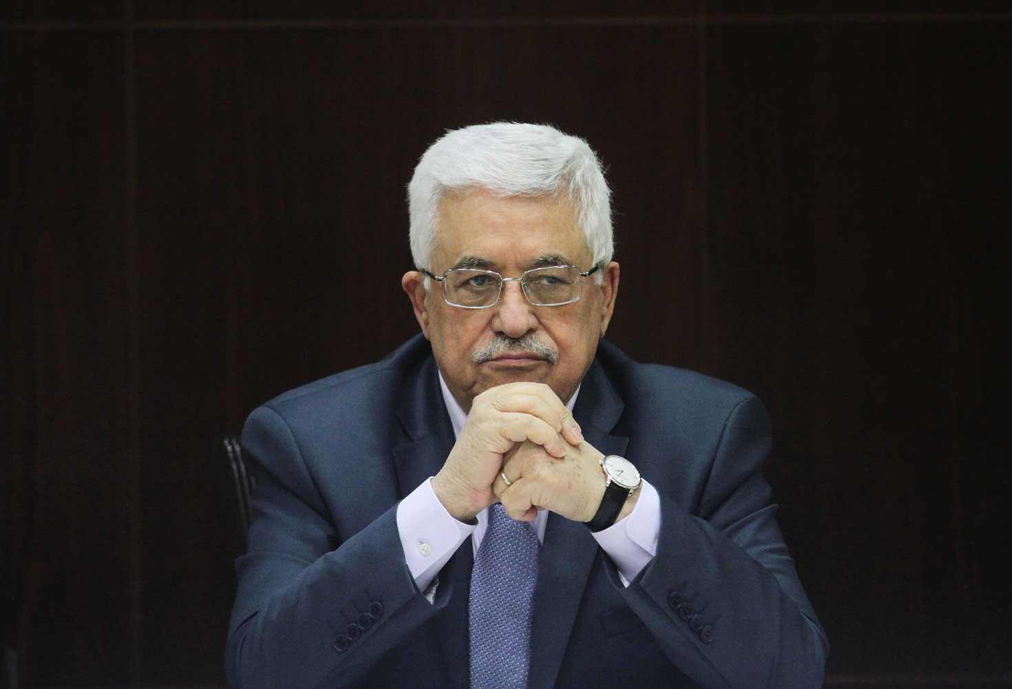 Palestinian National Authority President Mahmoud Abbas chairs a Cabinet session in the West Bank city of Ramallah on July 28, 2013