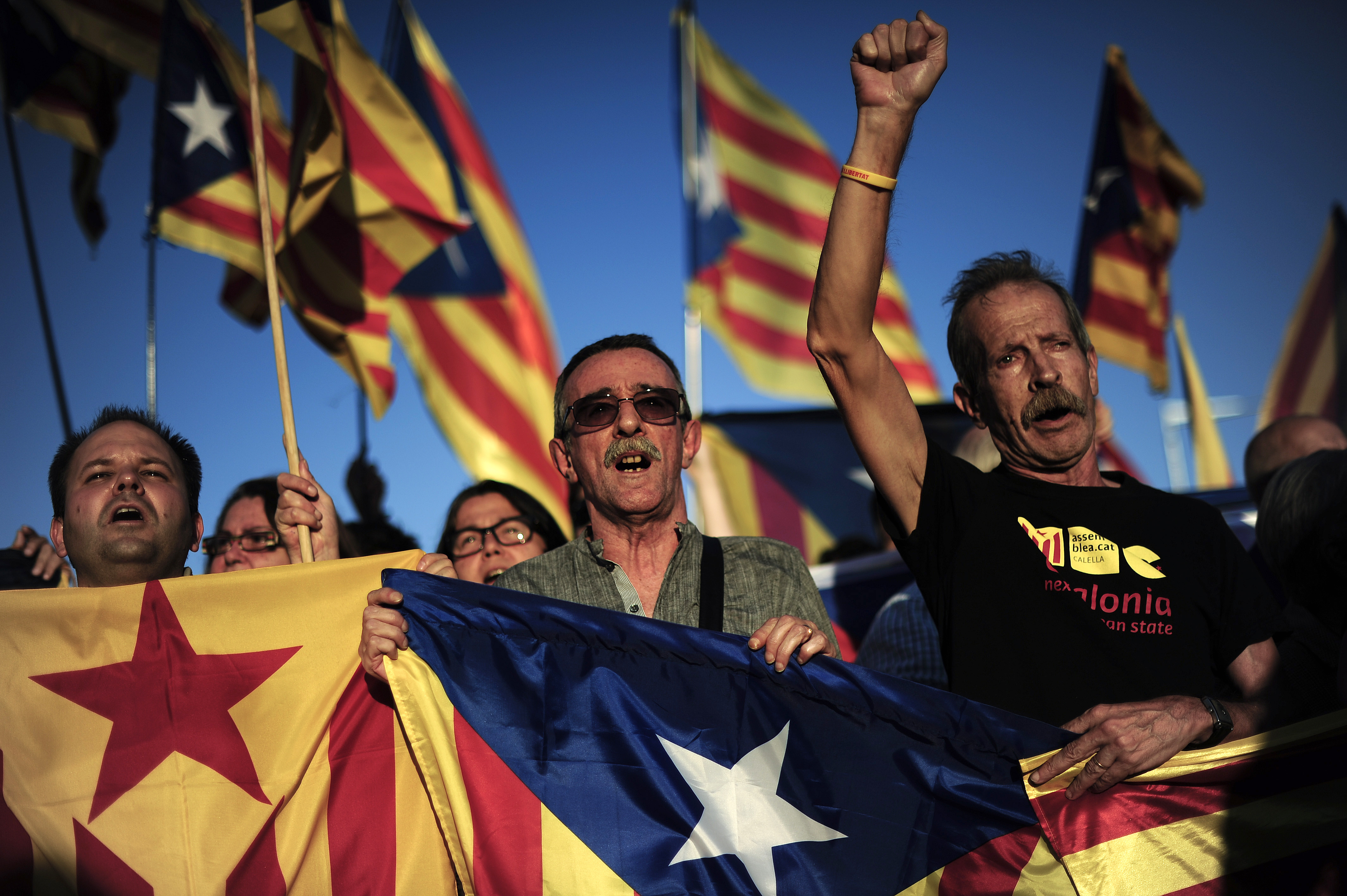 Demonstratorshold Catalan flags during a protest calling for independence from Spain in Barcelona,  October 2013.