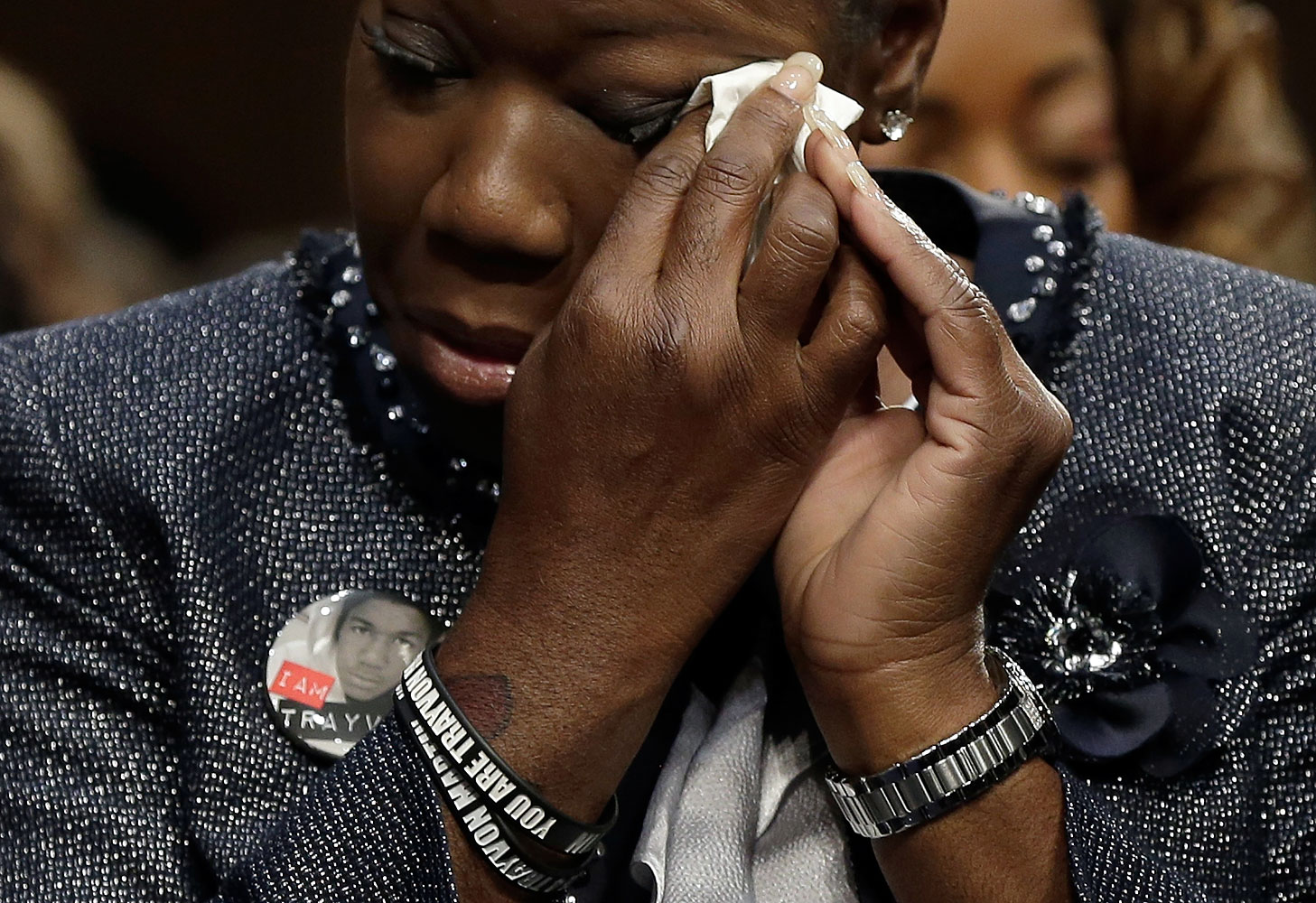 Sybrina Fulton of Miami, Fla., mother of Trayvon Martin, wipes her eyes during a Senate Judiciary Committee hearing on  Stand Your Ground  laws Oct. 29, 2013 in Washington, DC.