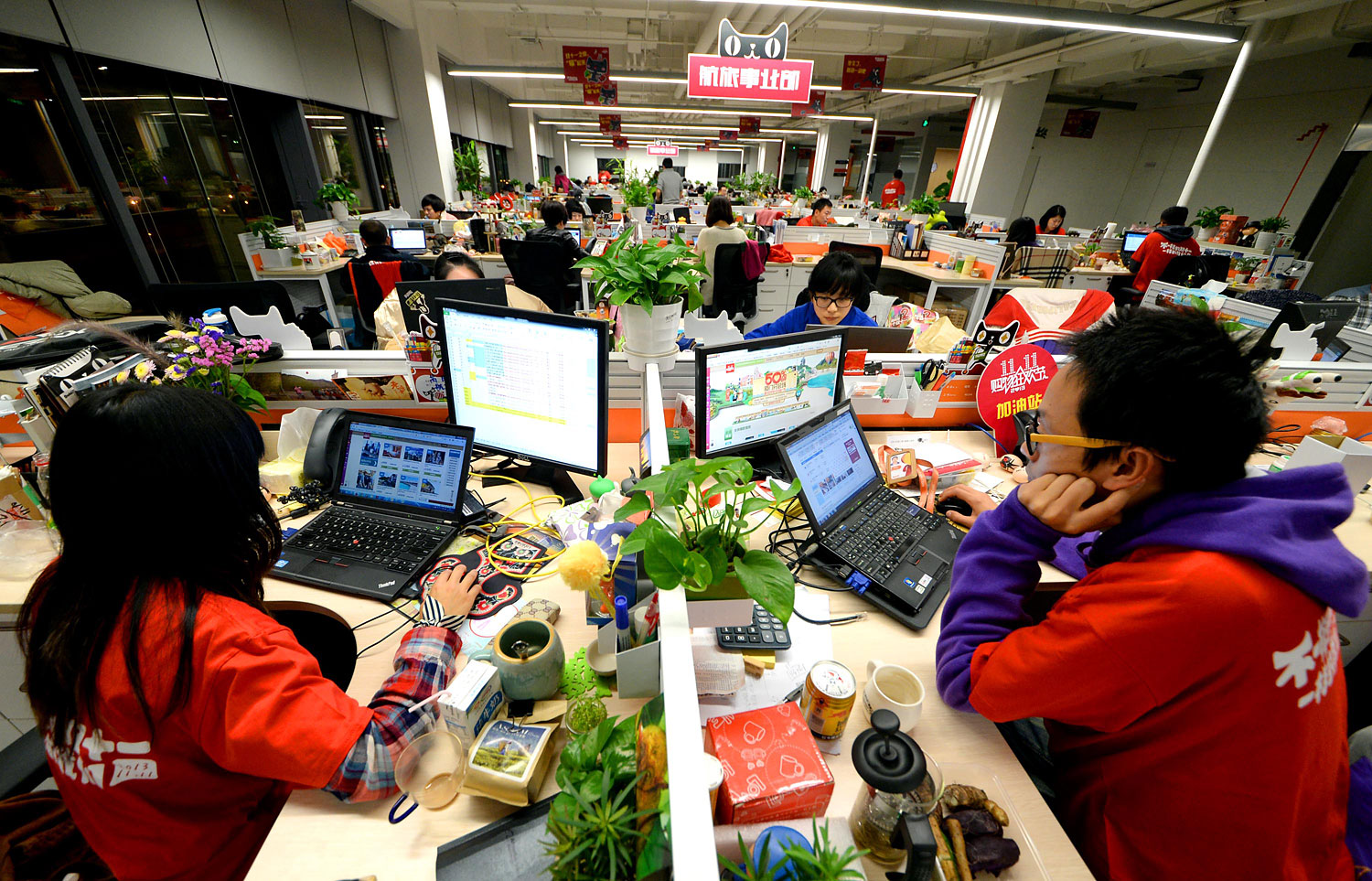 Employees at Alibaba Headquarters on Nov. 11, 2013 in Hangzhou, China.
