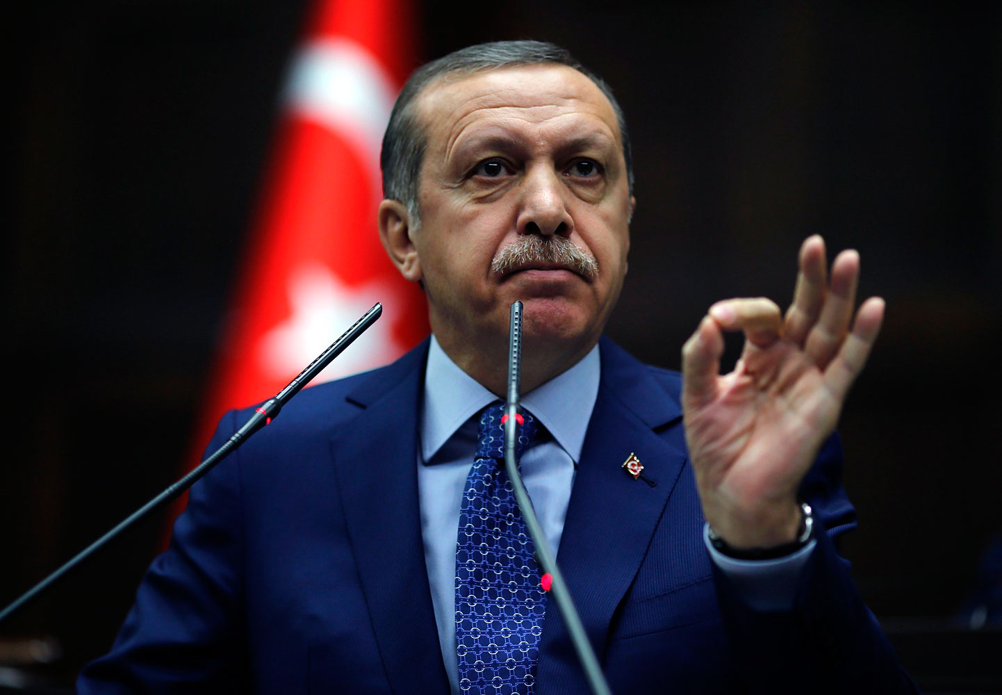 Turkey's Prime Minister Tayyip Erdogan addresses members of parliament from his ruling AK Party (AKP) during a meeting at the Turkish parliament in Ankara on Feb. 18, 2014.