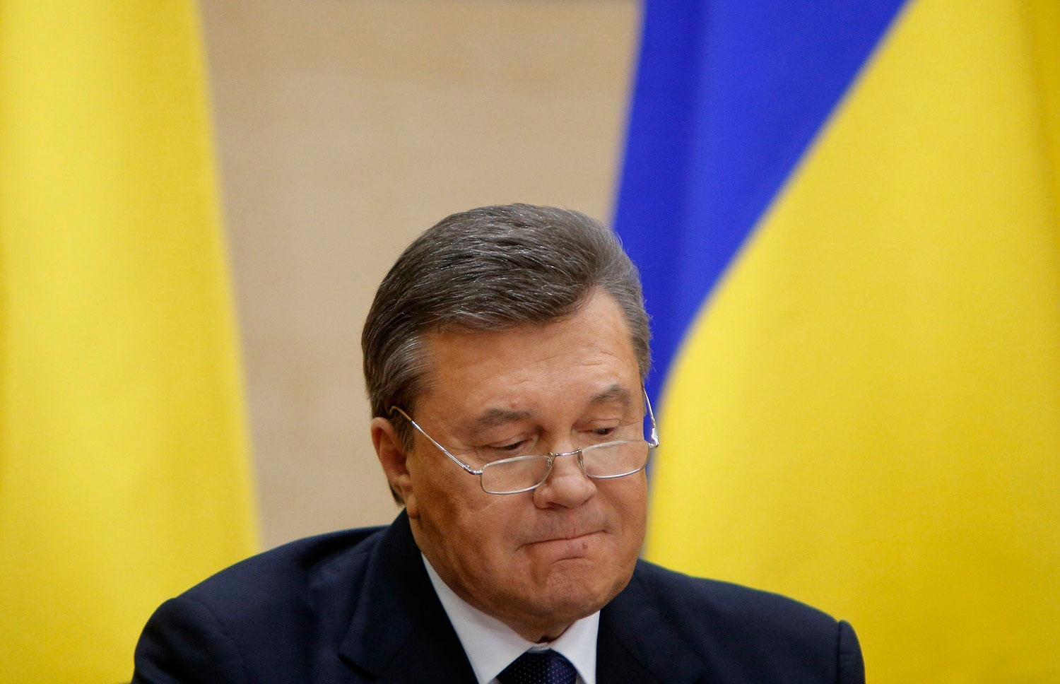 Ousted Ukrainian President Viktor Yanukovich takes part in a news conference in the southern Russian city of Rostov-on-Don, Feb. 28, 2014.