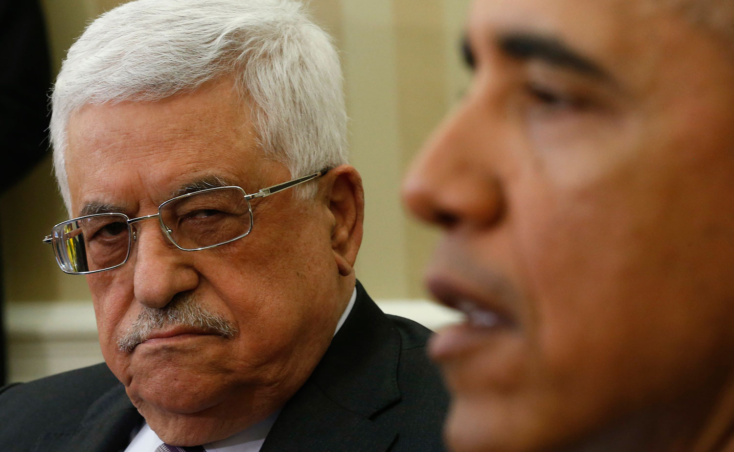 Palestinian Authority President Mahmoud Abbas meeting President Obama at the White House, March 17, 2014.