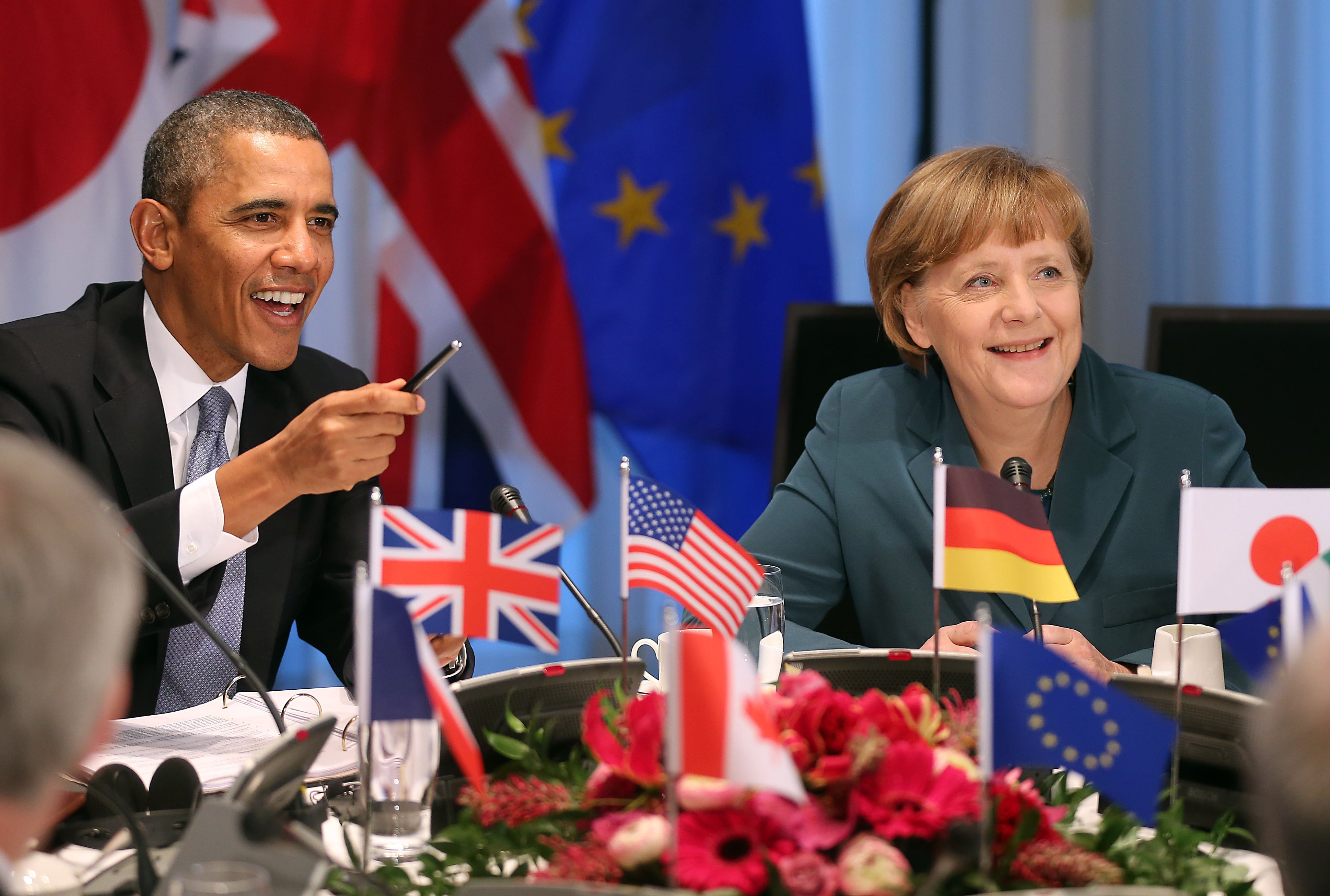 President Barack Obama and Chancellor Angela Merkel at a meeting of the G-7 in the Hague on March 24, 2014