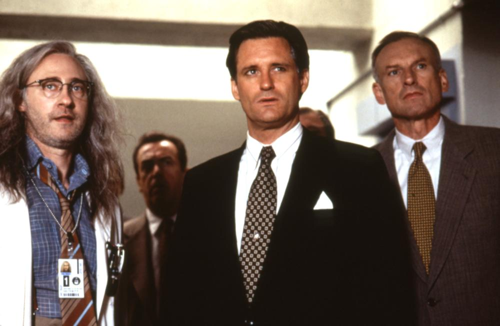 James Rebhorn, right, played Secretary of Defense Albert Nimziki in the 1996 Independence Day.