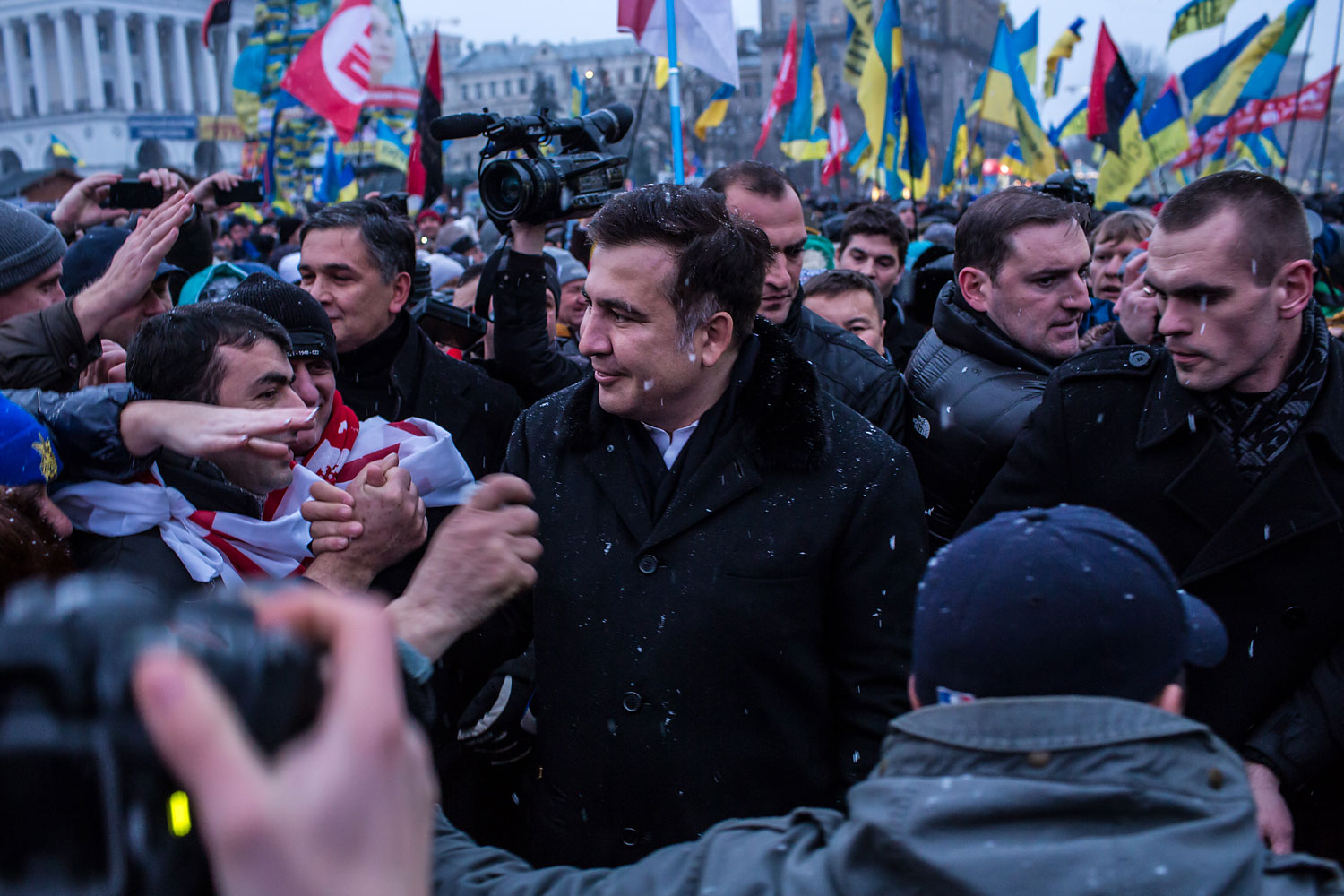 Mikheil Saakashvili, the former President of Georgia, in Independence Square in Kiev, Ukraine, in support of antigovernment protesters on Dec. 7, 2013