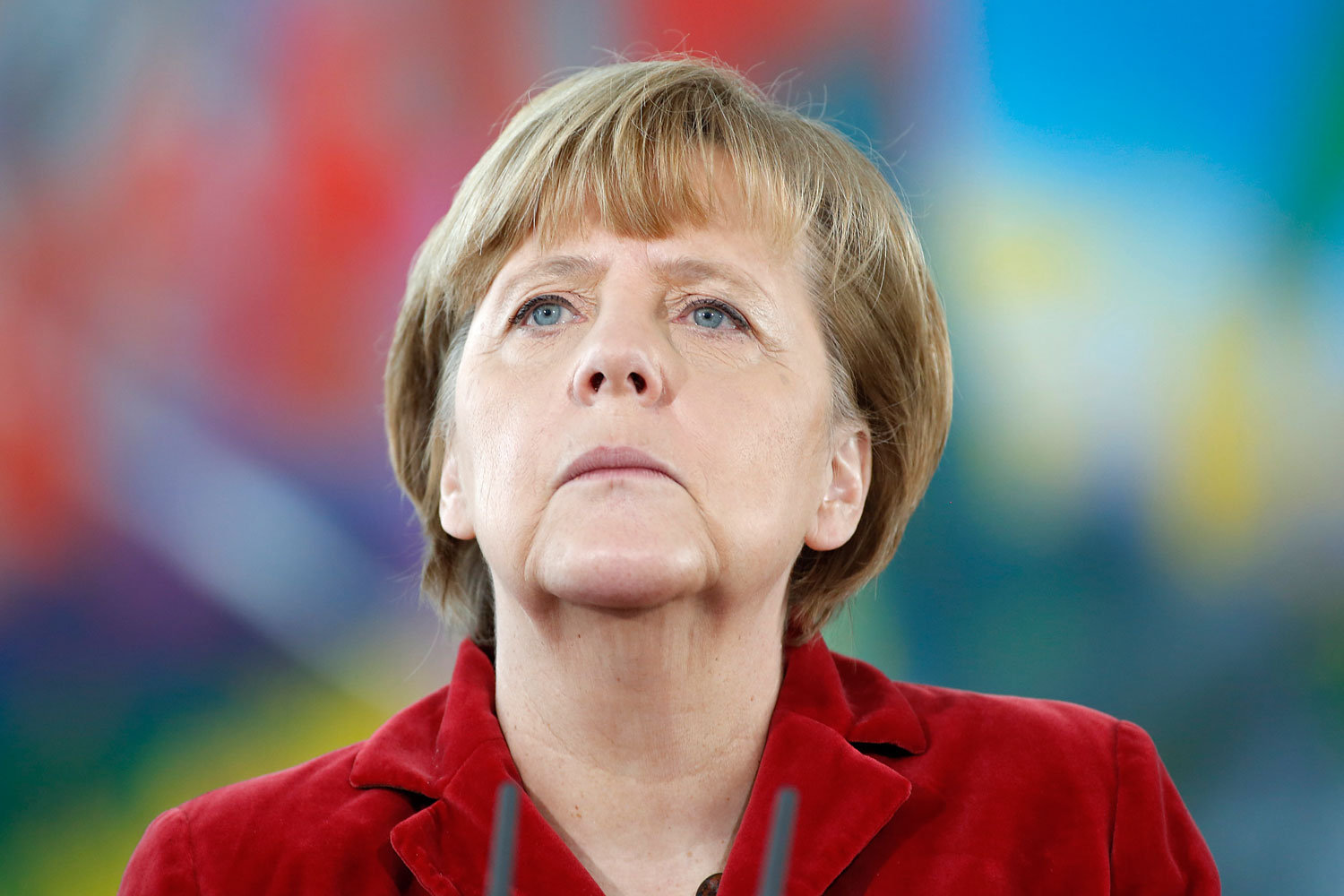 German Chancellor Angela Merkel speaks to the media with German at Federal Chancellery on January 31, 2014 in Berlin.