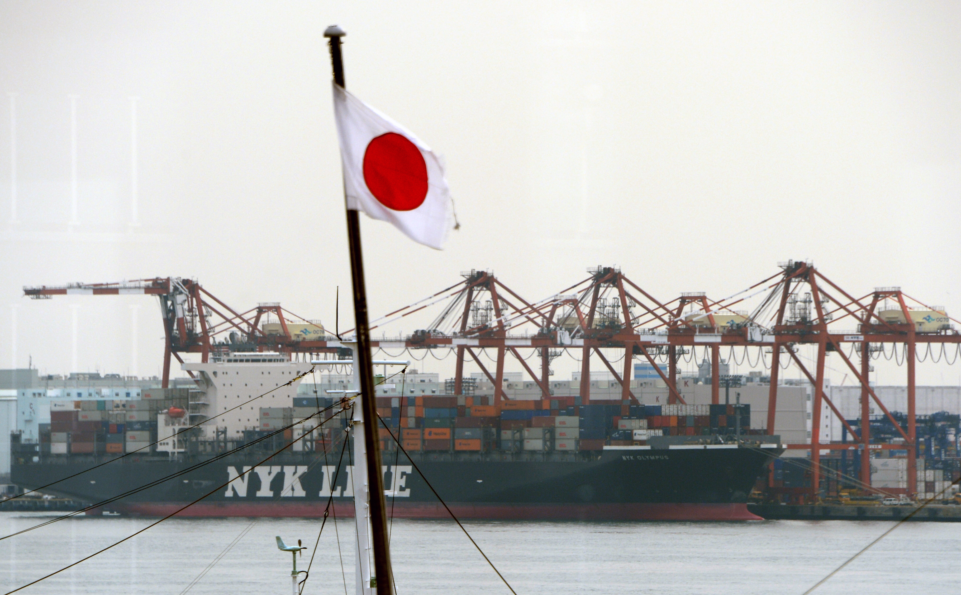 A cargo ship berthes alongside a container wharf in the port of Tokyo on February 20, 2014.