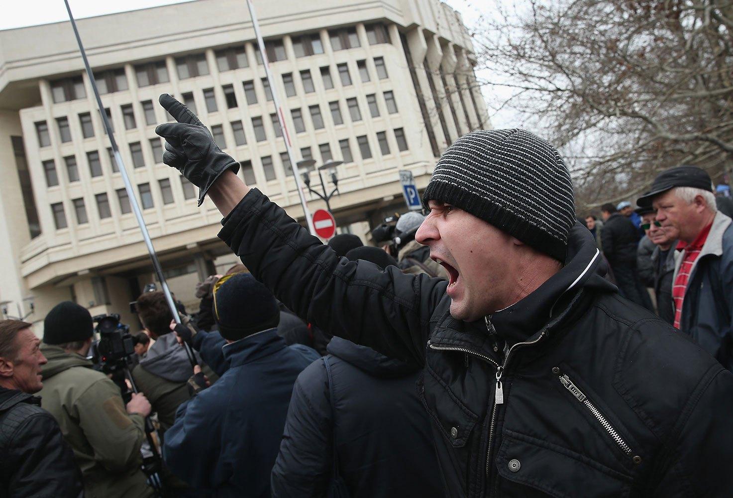 Pro-Russian supporters rally outside the Crimean parliament building on Feb. 28, 2014 in Simferopol.