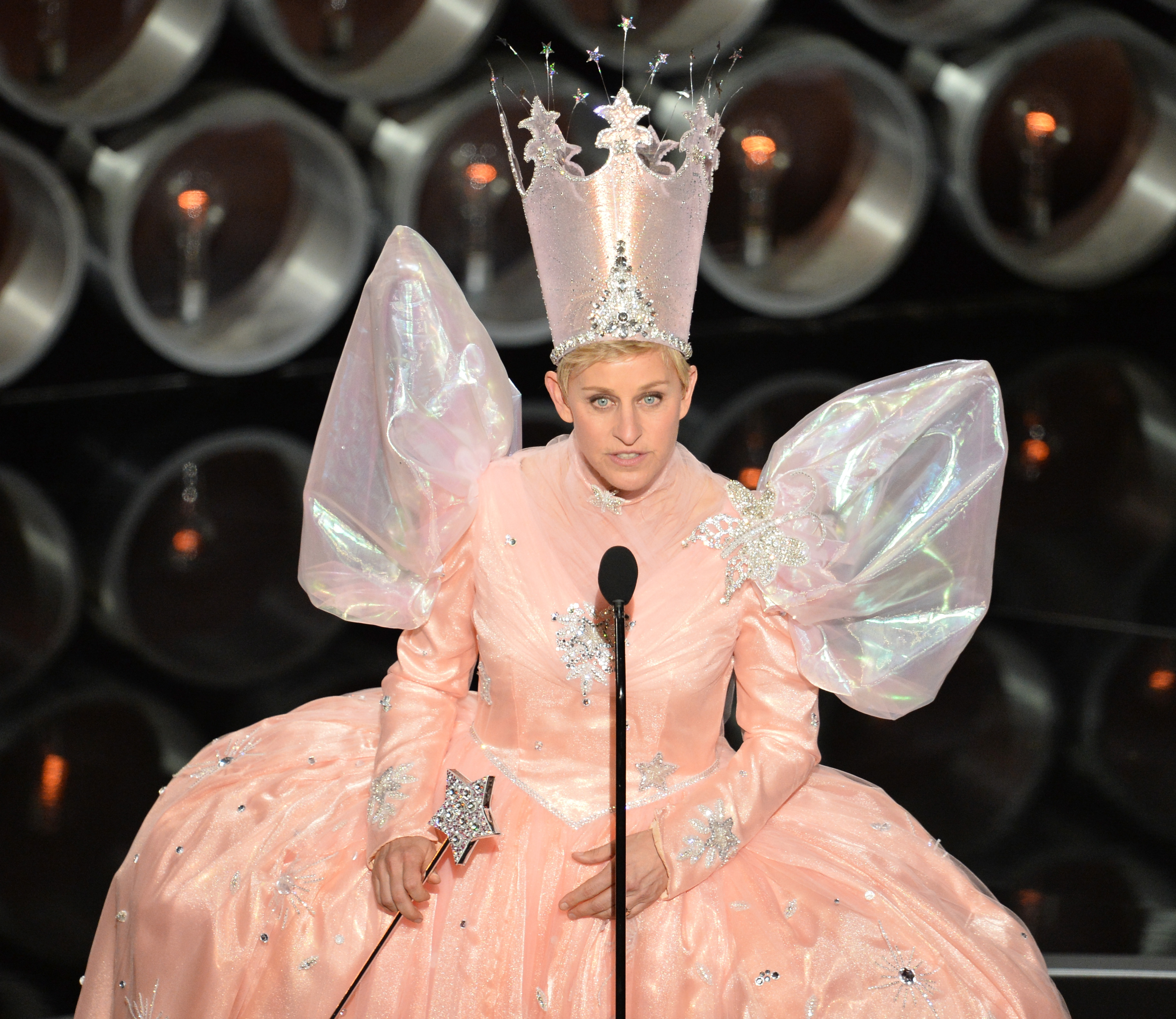 Ellen DeGeneres onstage during the Oscars at the Dolby Theatre on March 2, 2014 in Hollywood, California.