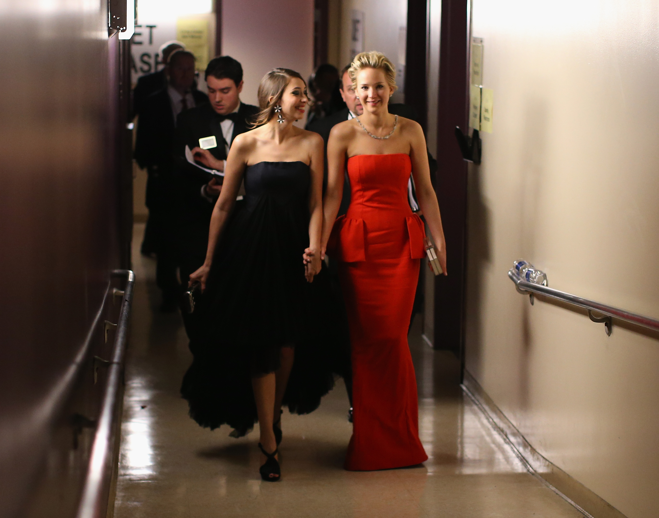 Actress Jennifer Lawrence and friend Laura Simpson backstage during the Oscars held at Dolby Theatre on March 2, 2014 in Hollywood, California.