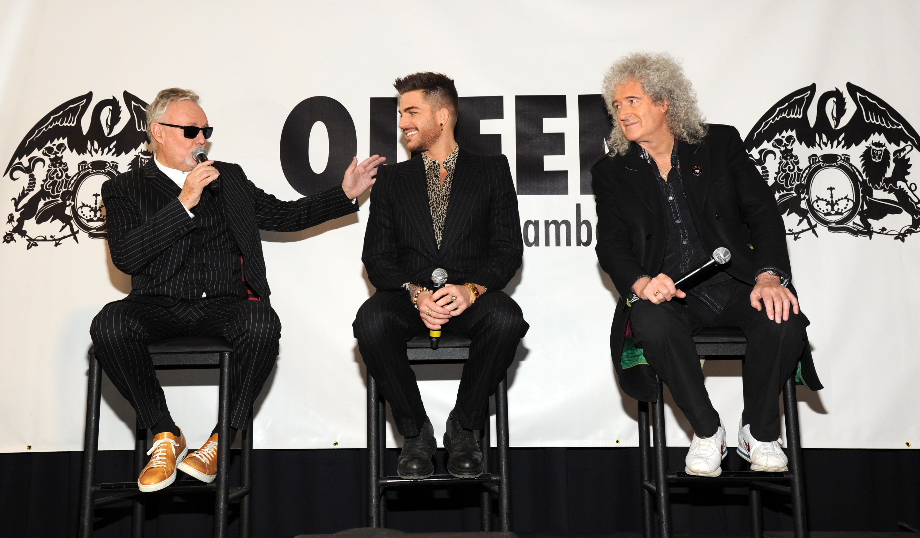 Roger Taylor, Adam Lambert and Brian May during Queen (Brian May and Roger Taylor) + Adam Lambert North American tour announcement at Madison Square Garden on March 6, 2014 in New York City.