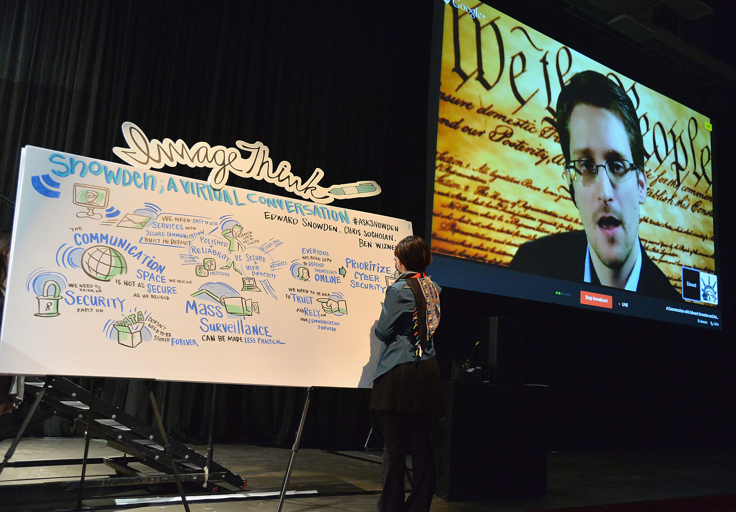 NSA whistleblower Edward Snowden speaks via videoconference at the  Virtual Conversation With Edward Snowden  during the 2014 SXSW Music, Film + Interactive Festival at the Austin Convention Center on March 10, 2014 in Austin.