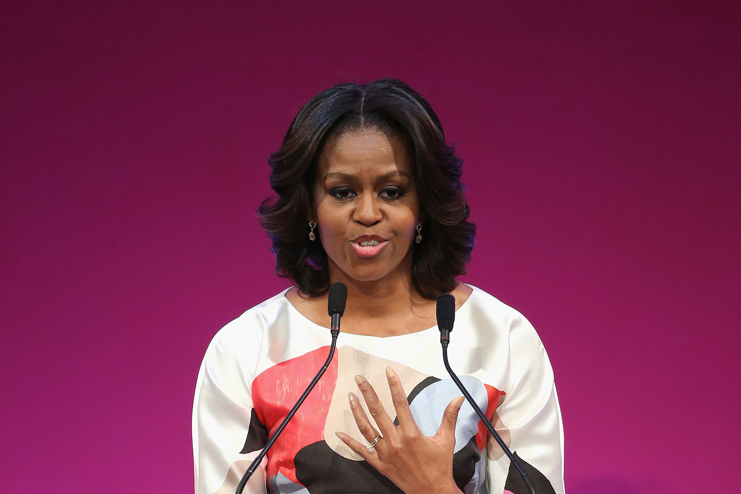 U.S. First Lady Michelle Obama delivers a speech at the Stanford Center at Peking University on March 22, 2014 in Beijing, China.