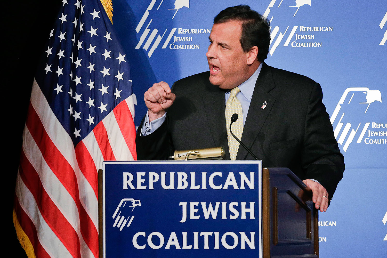 New Jersey Governor Chris Christie speaks at the Republican Jewish Coalition on March 29, 2014, in Las Vegas