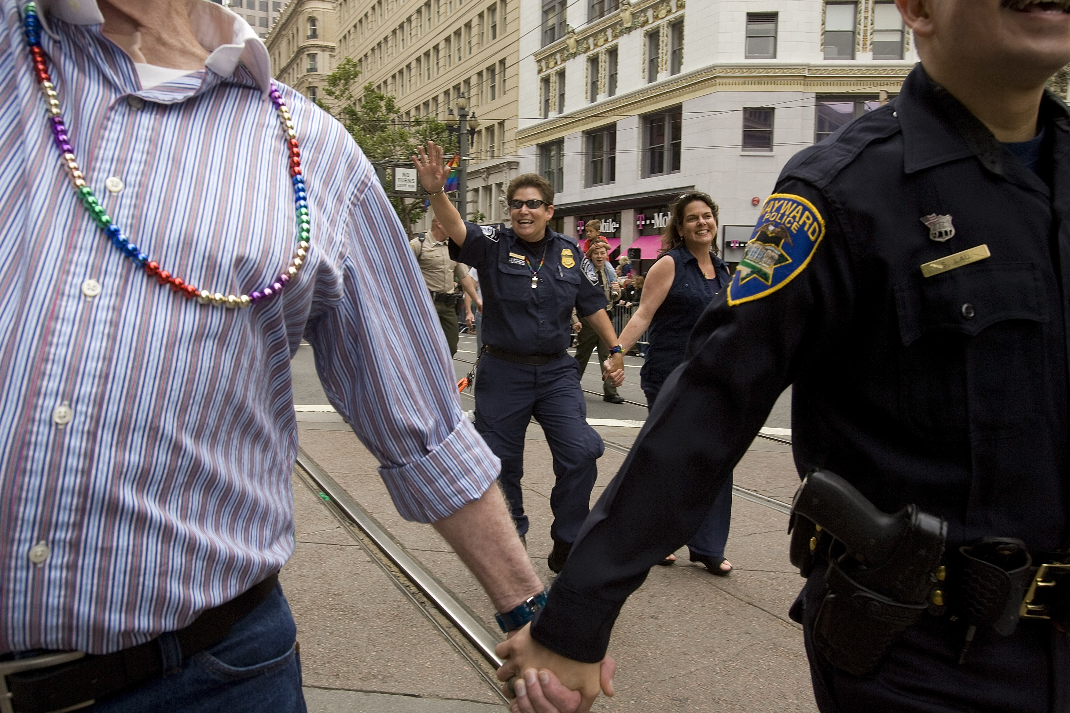 In this file photo from 2008, members of the Hayward, California police department  take part in the 38th Annual San Francisco LGBT Pride Celebration