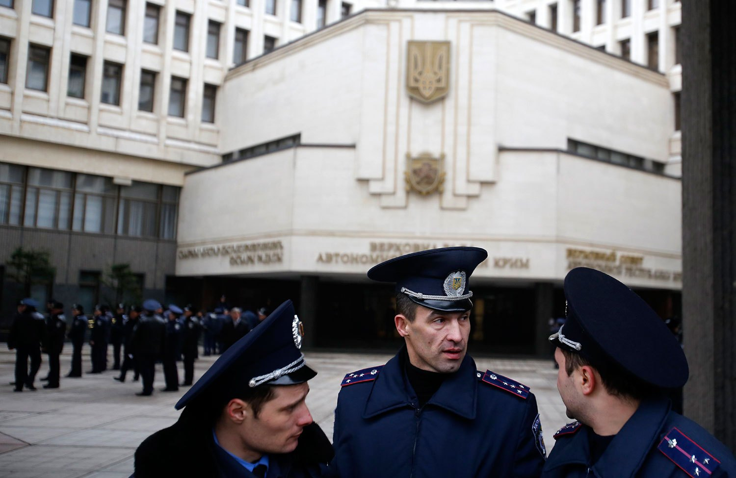 Ukrainian police officers guard local government building during a protest in Simferopol, Feb. 26, 2014.