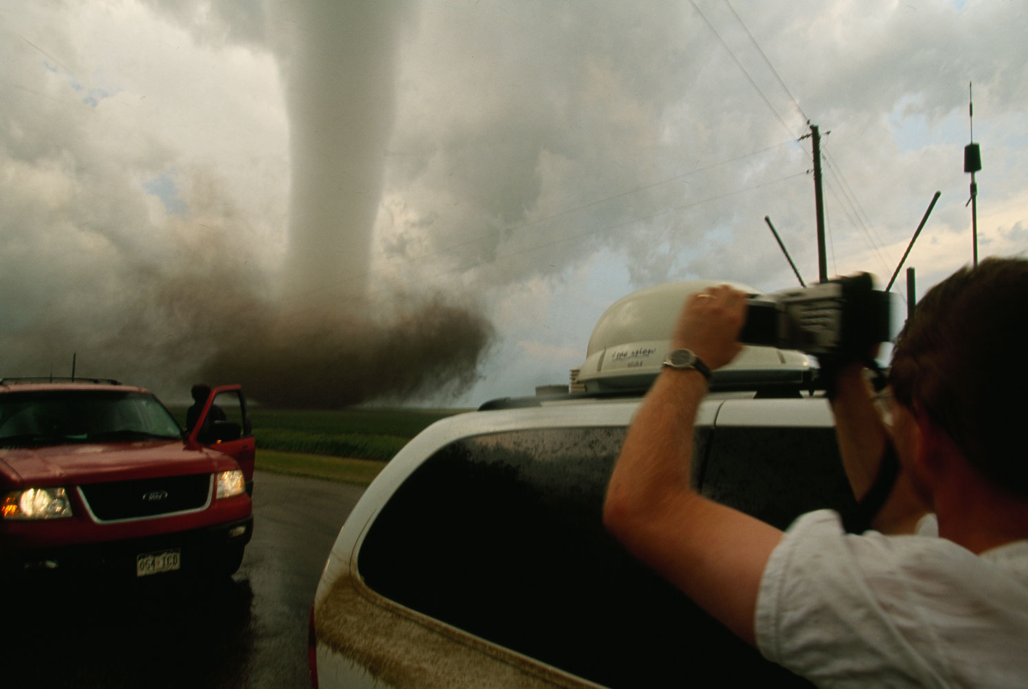 A storm chaser video taping a tornado in South Dakota, March 25, 2010.