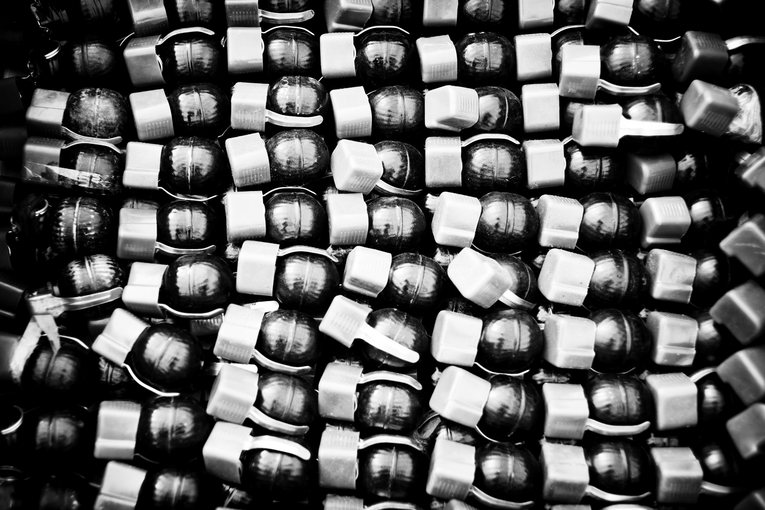 A stash of unused grenades at the headquarters of the French army, which has recovered more than 130 cubic meters of weapons—many of them from China, like these cheap hand grenades. Feb. 6, 2014.