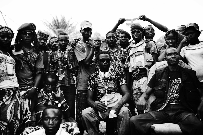 A group of anti-balaka militiamen sit for a portrait. Feb. 13, 2014.