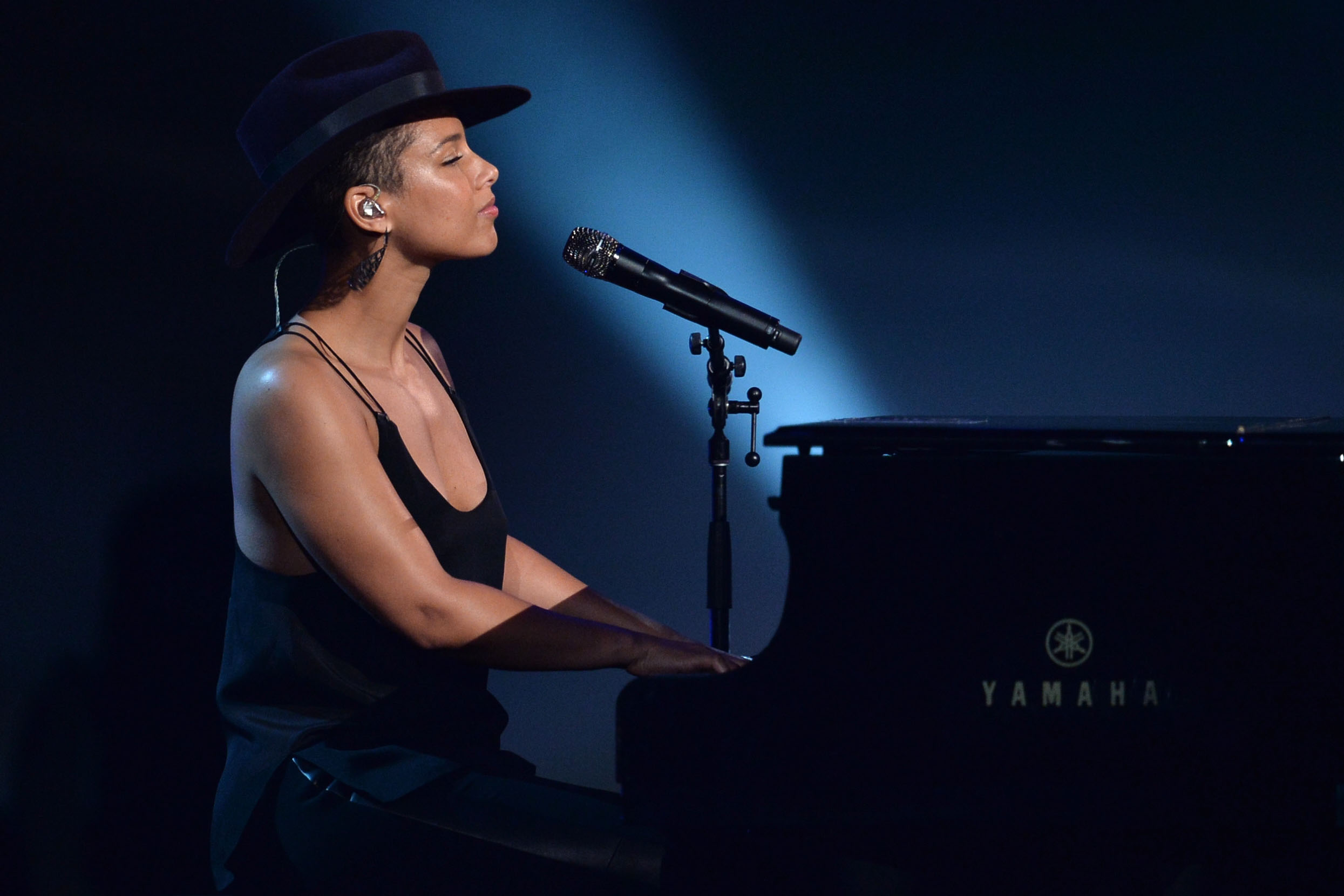 Alicia Keys performs onstage during The Grammy's on January 27.