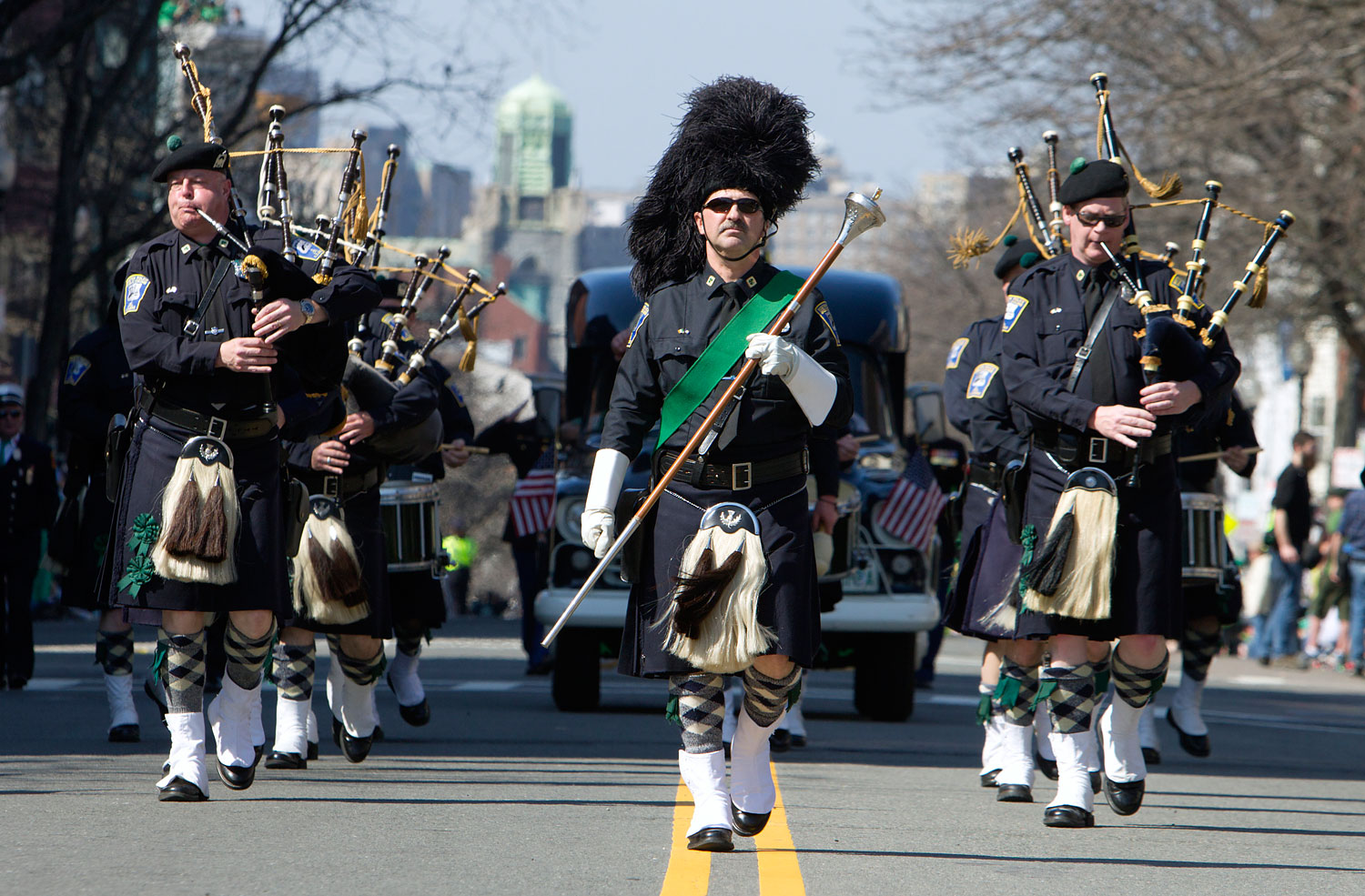 The Boston Police Gaelic Column marches in the annual St. Patrick's Day Parade in Boston,March 18, 2012.
