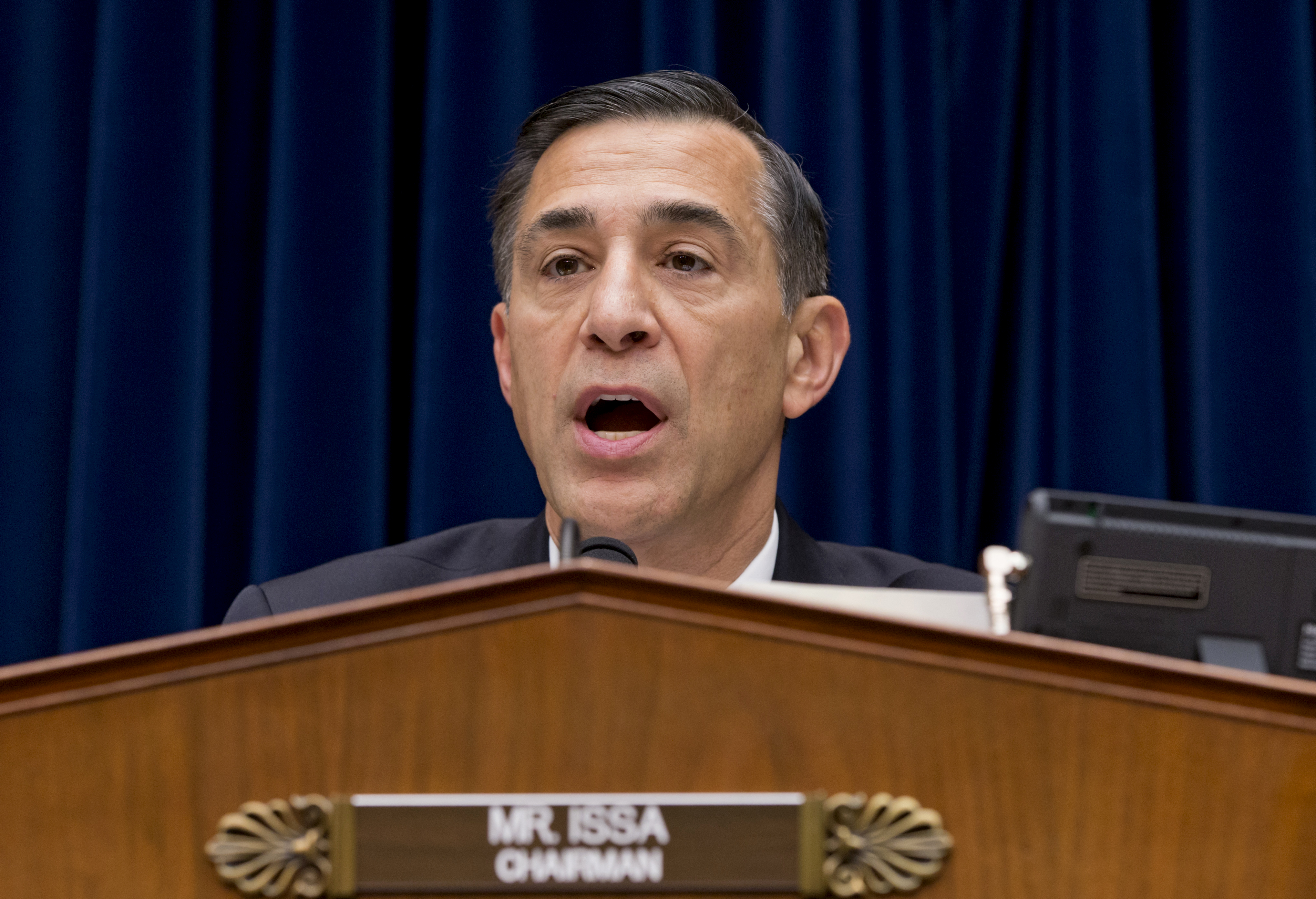 House Oversight Committee Chairman Rep. Darrell Issa, R-Calif. makes an opening statement as his panel holds its first public hearing on problems implementing the Obamacare healthcare program, on Capitol Hill in Washington, Wednesday, Nov. 13, 2013.