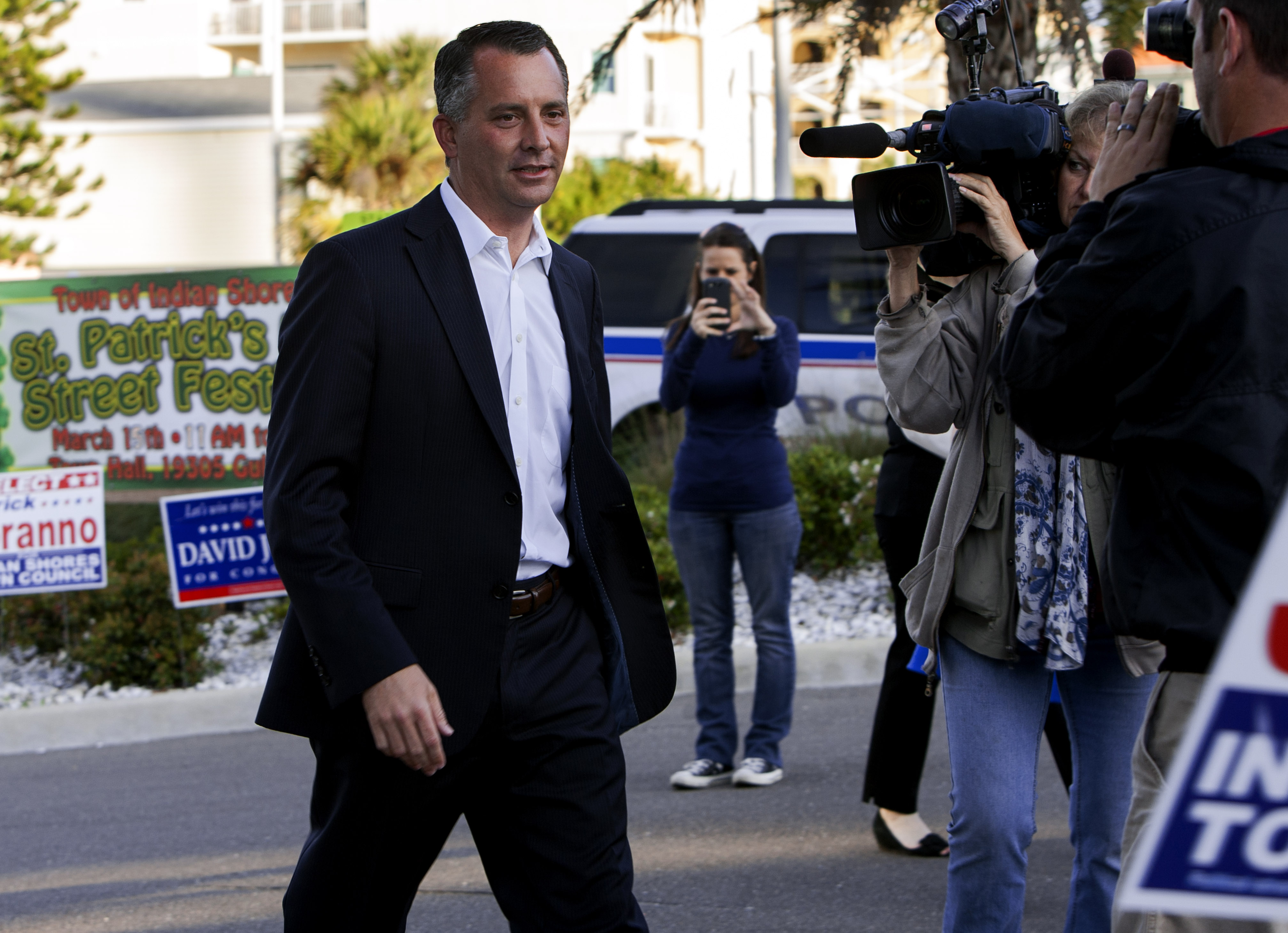 Candidate David Jolly arrives at the Indian Shores Town Hall to place his vote in the special election for the Florida 13th Congressional District in Indian Shores, Fla., on March 11, 2014