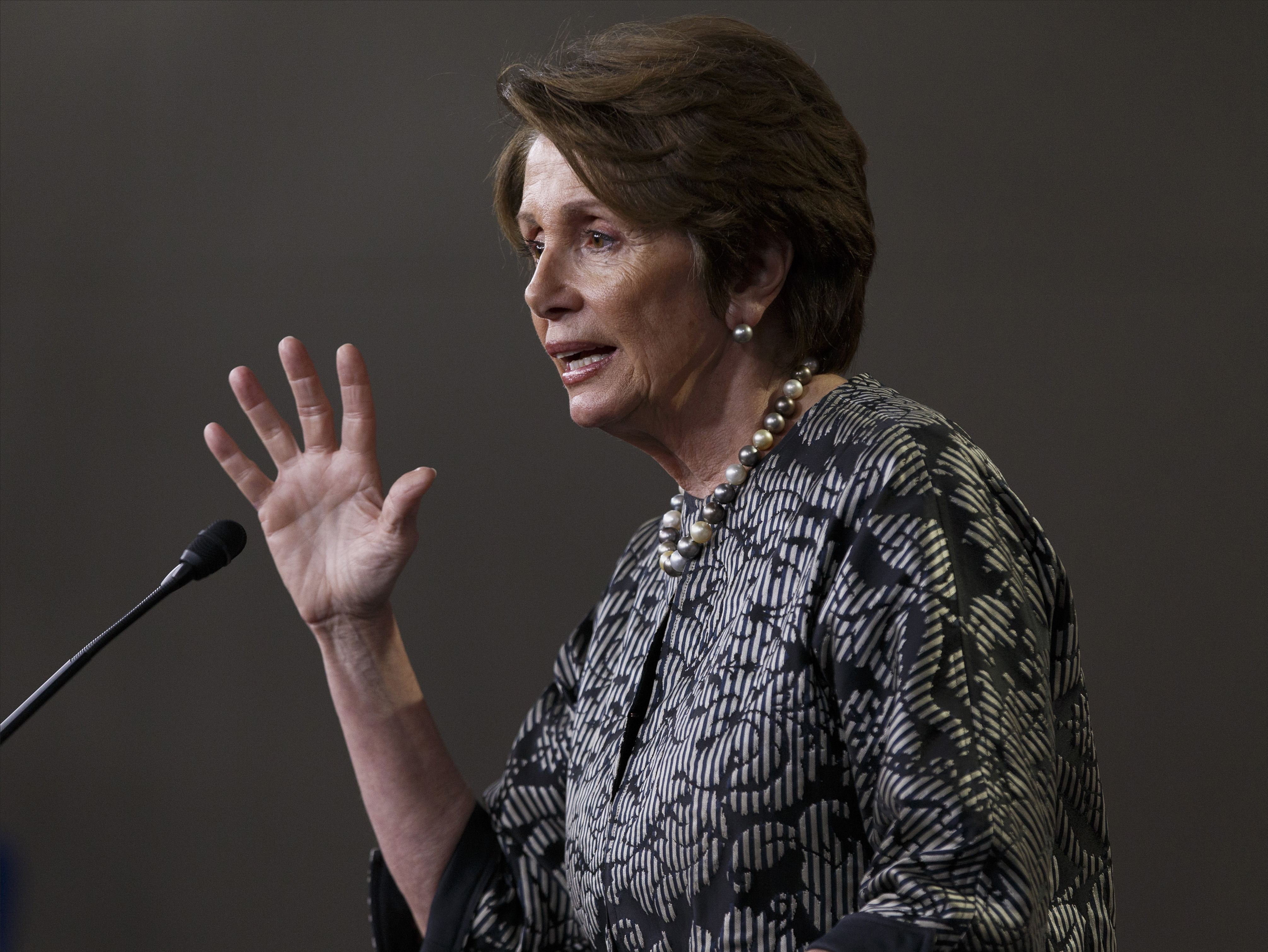 House Minority Leader Nancy Pelosi of Calif. meets with reporters on Capitol Hill in Washington, Thursday, March 13, 2014.