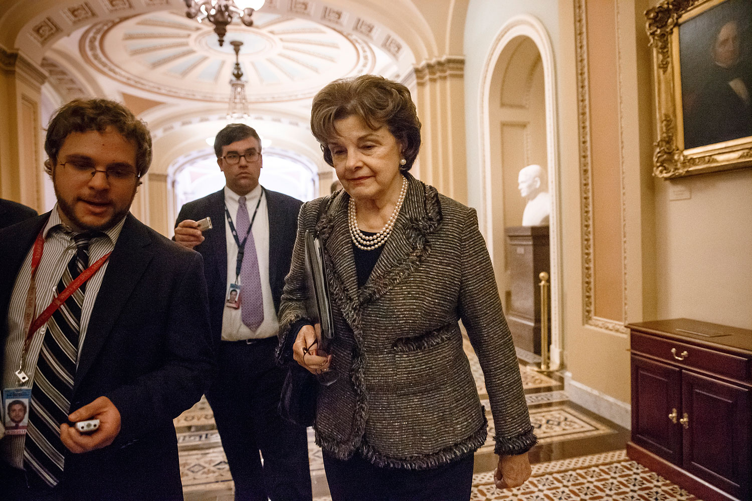 Sen. Dianne Feinstein, D-Calif., chair of the Senate Intelligence Committee, leaves the chamber at the Capitol in Washington, March 5, 2014.