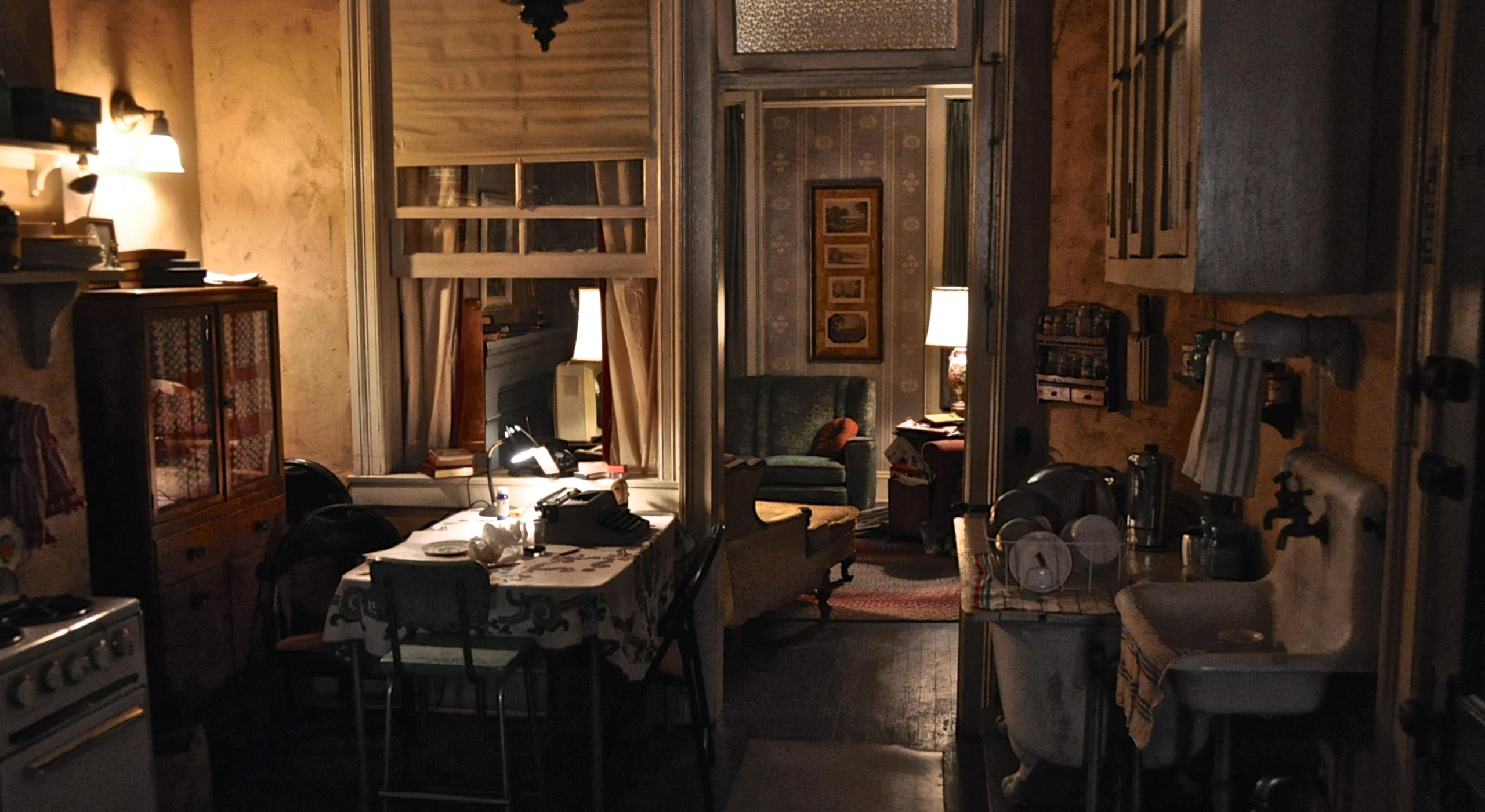 Ginsberg apartment (1966, inspired by Lower East Side tenements):  Those pass-through windows—the one between the kitchen and the parlor—came about because there were fire laws and city codes that declared you must be able to get air into those interior rooms, so people installed them later.  —Dan Bishop