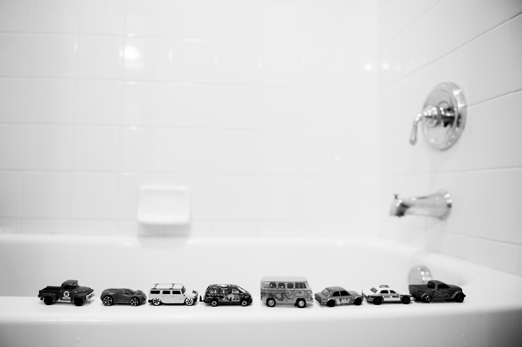 Brendan has precisely lined up toy cars up on the side of the bathtub since he was young.  It made his parents nervous because Marcus had the same habit at the time he was diagnosed with autism.  Repetitive, obsessive behavior is a classic sign of autism, but Brendan was merely imitating his brother.