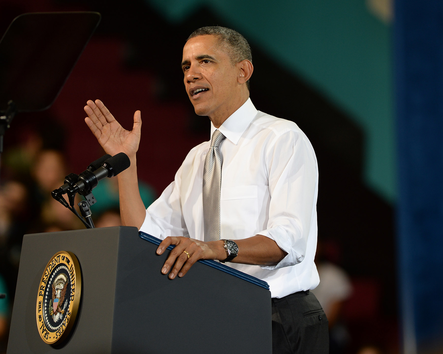 President Barack Obama delivers a speech at Coral Reef High School in Miami on March 7, 2014