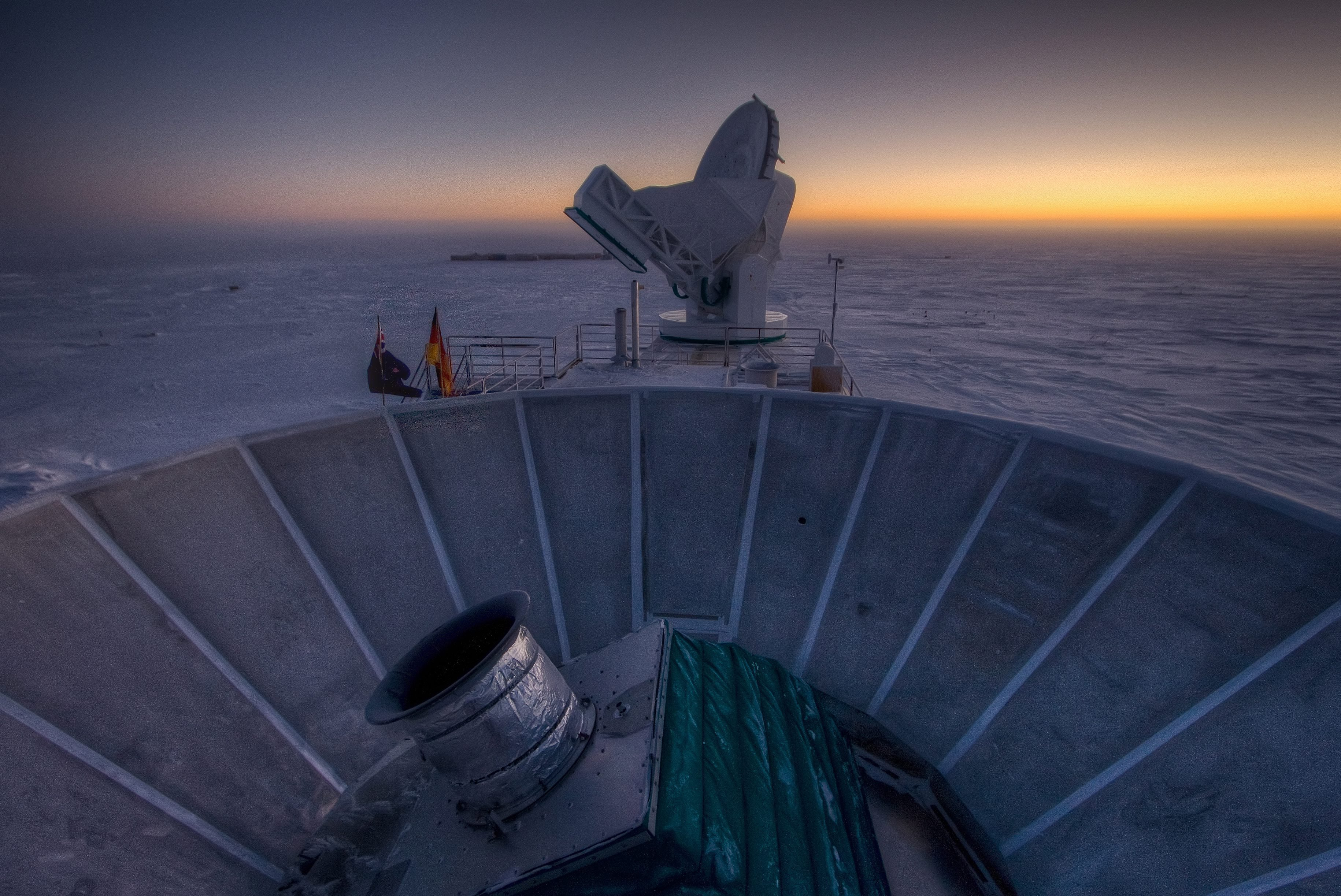 Telescope BICEP2 (in the foreground) and the South Pole Telescope (in the background) in Antarctica, on March 31, 2007.