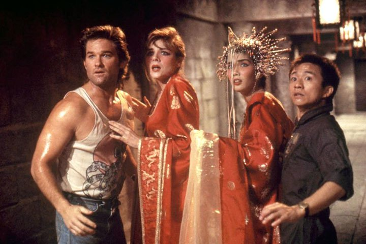 Big Trouble In Little China                               What do you do when your future bride is kidnapped by a sorcerer who wears way too much foundation? You call Kurt Russell. This cult classic follows Jack Burton (Kurt Russell) as he helps his friend Wang Chi (Dennis Dun) save his green-eyed fiancee from the sorcerer Lo Pan (James Hong) who intends to sacrifice her to break an ancient curse.