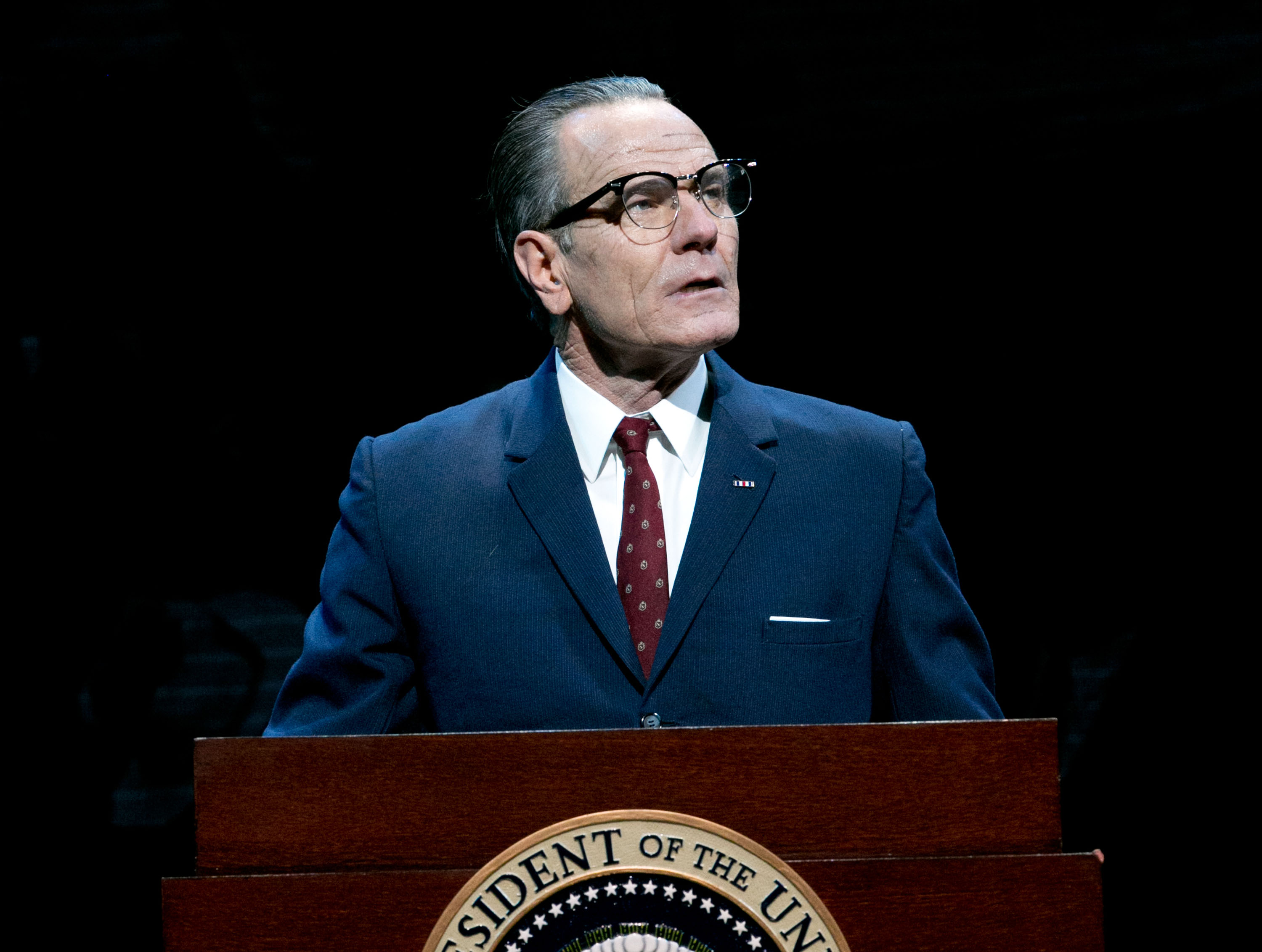 Bryan Cranston plays President Lyndon B. Johnson in <i>All the Way</i> in his Broadway debut in March 2014.