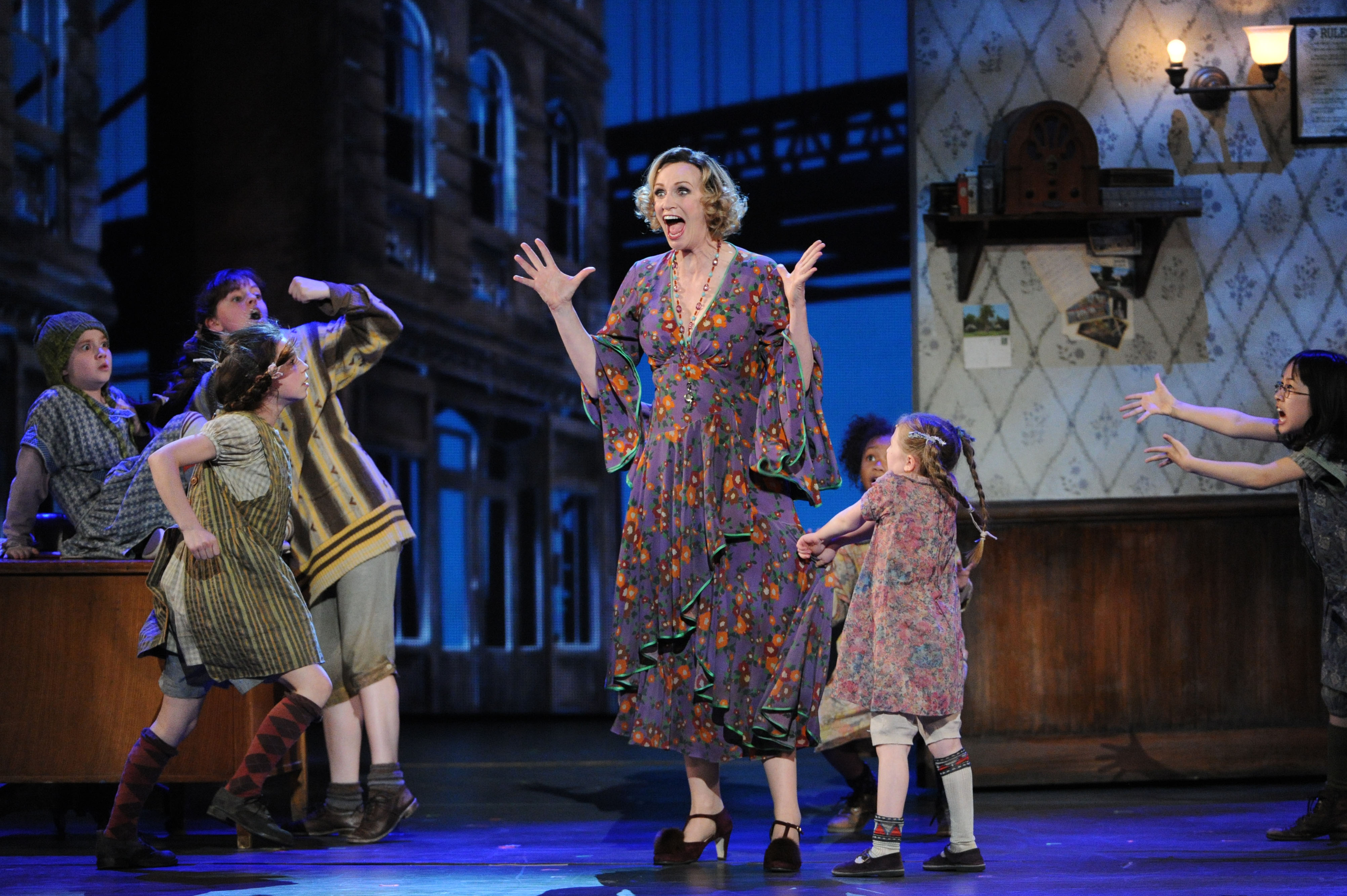 Jane Lynch made her Broadway debut as Miss Hannigan in <i>Annie</i> in 2013. Above, she is seen performing her role on stage at the 67th Annual Tony Awards