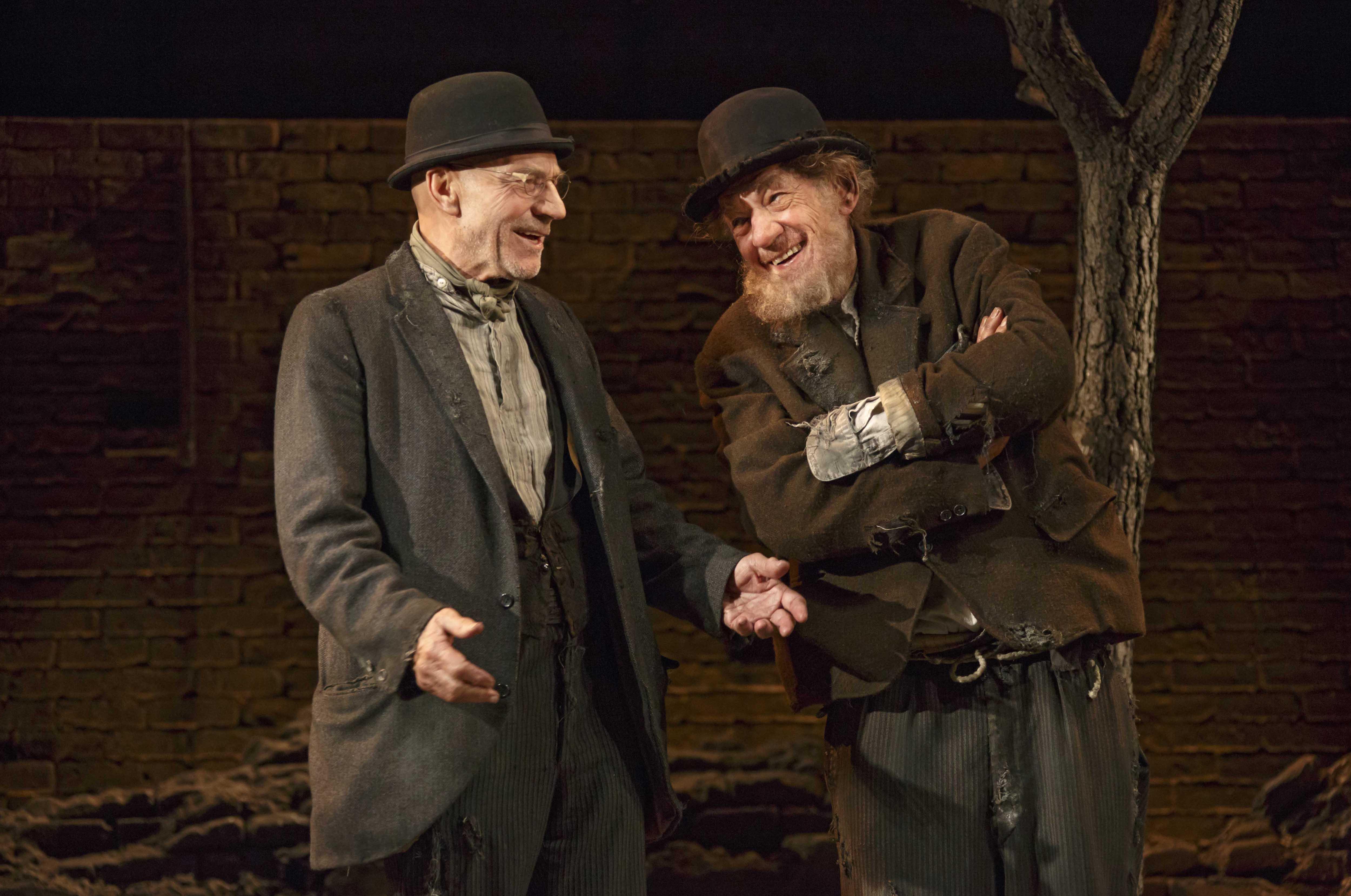 Patrick Stewart, left, and Ian McKellen star in Samuel Beckett's play Waiting for Godot.