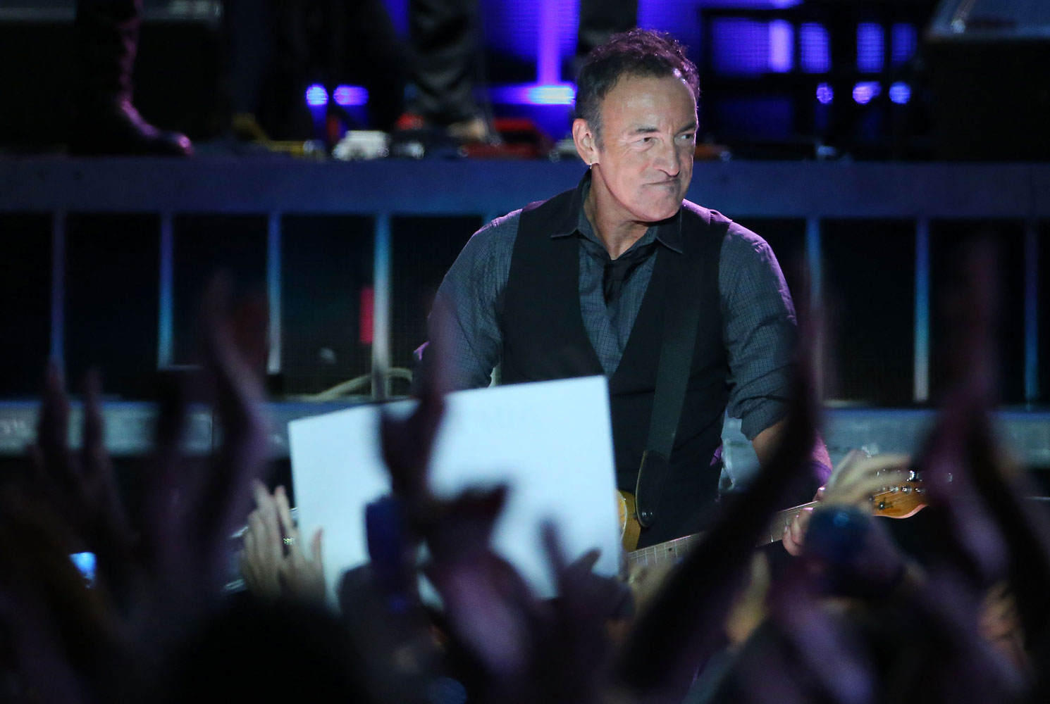 Bruce Springsteen perfomrs live on stange with the E Street Band on March 1, 2014 in Auckland, New Zealand.