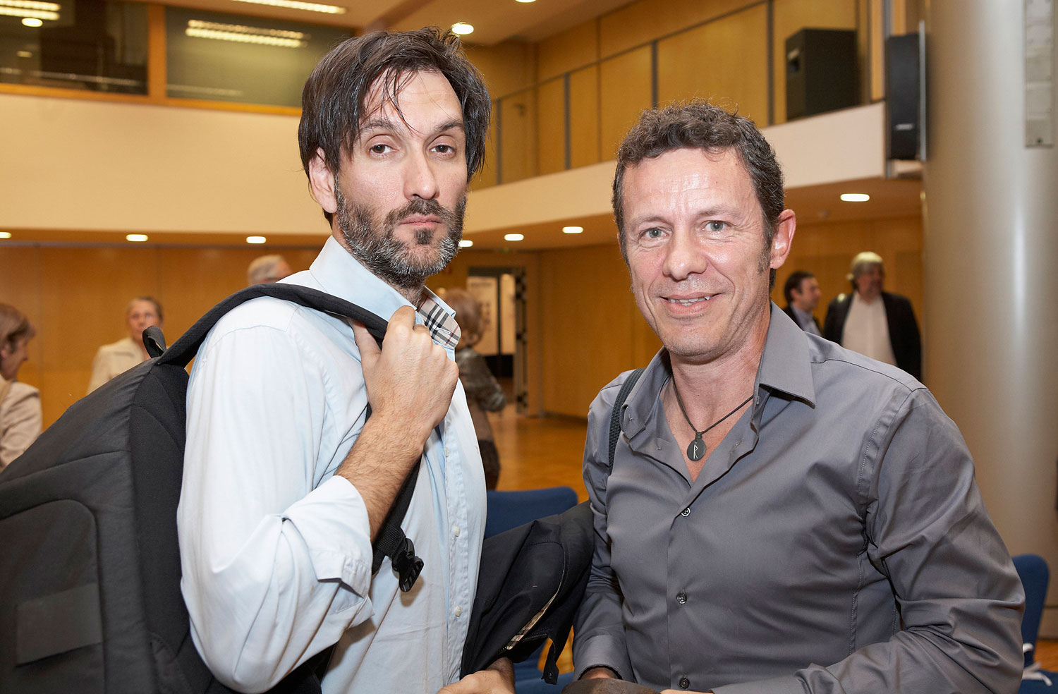 In this file photo taken on May 24, 2012, Spanish reporters Javier Espinosa, right, and Ricardo Garcia Vilanova, left, pose for a photo in Barcelona. The two Spanish journalists were freed after being held captive for six months in Syria by a rogue al-Qaida group.