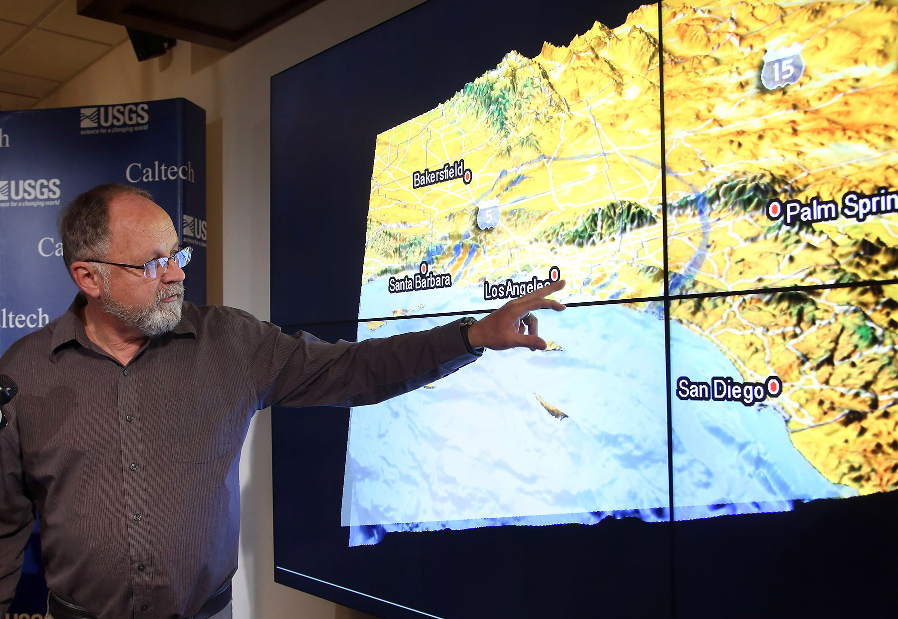 Egill Hauksson, a Caltech seismologist, talks about an early morning earthquake during a news conference at Caltech in Pasadena, Calif, on Monday, March 17, 2014.