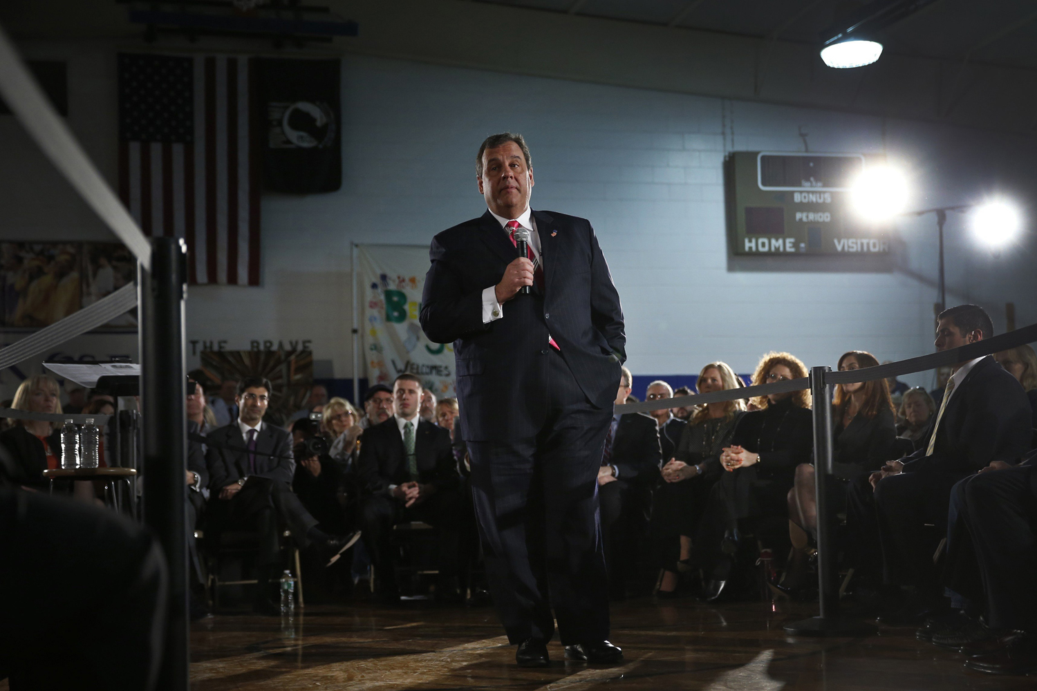 Mar. 25, 2014. New Jersey Governor Chris Christie speaks to local residents of Belmar, New Jersey, and other shore towns in Monmouth County during a town hall meeting to discuss federal funds for recovery from hurricane Sandy.