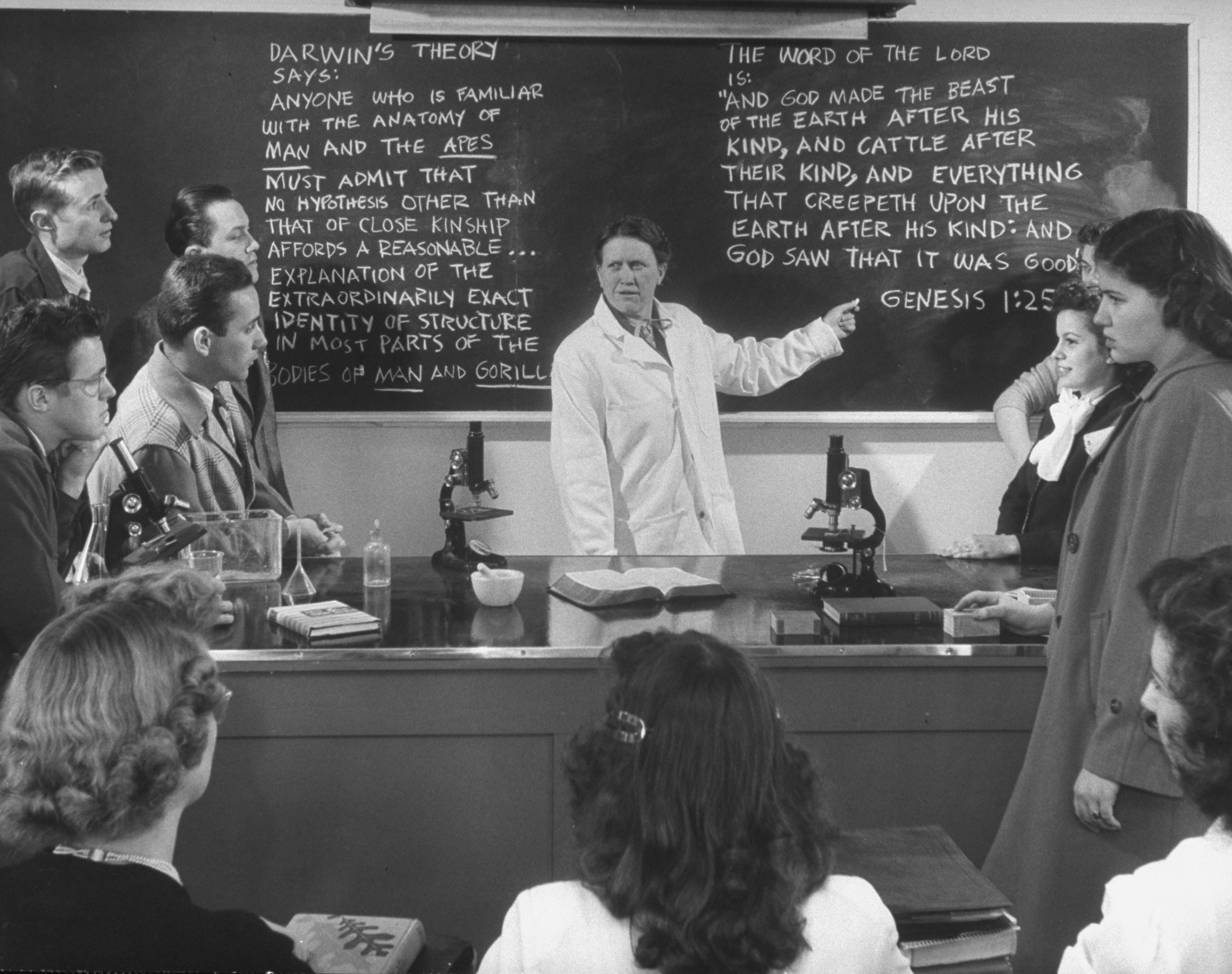 Back to the future?  At South Carolina's Bob Jones University, Dr. Maude Stout  teaches the controversy  over evolution in 1948.