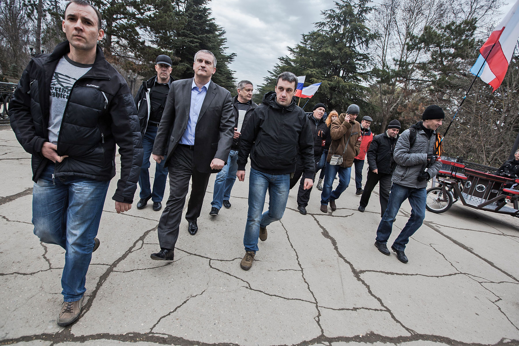 Sergei Aksyonov, the Crimean prime minister, attends a public ceremony held for the swearing-in of the first unit of the pro-Russia Military Forces of the Autonomous Republic of Crimea in Gagarin Park in Simferopol, Crimea, March 8, 2014.