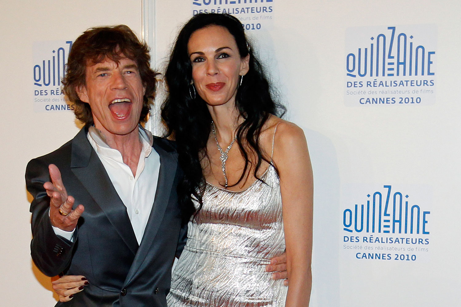 Rolling Stones lead singer Mick Jagger and fashion stylist L'Wren Scott arrive at the  Quinzaine des Realisateurs  at the 63rd Cannes Film Festival May 19, 2010.